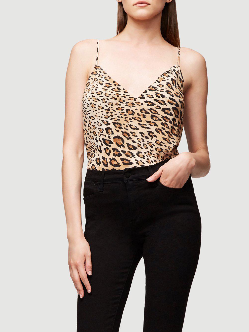 bef436df22371e FRAME V-neck Cheetah-print Silk Cami Top in Black - Lyst