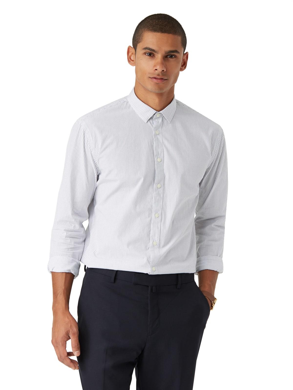 Frank oak micro windowpane andover dress shirt in white for Frank and oak shirt