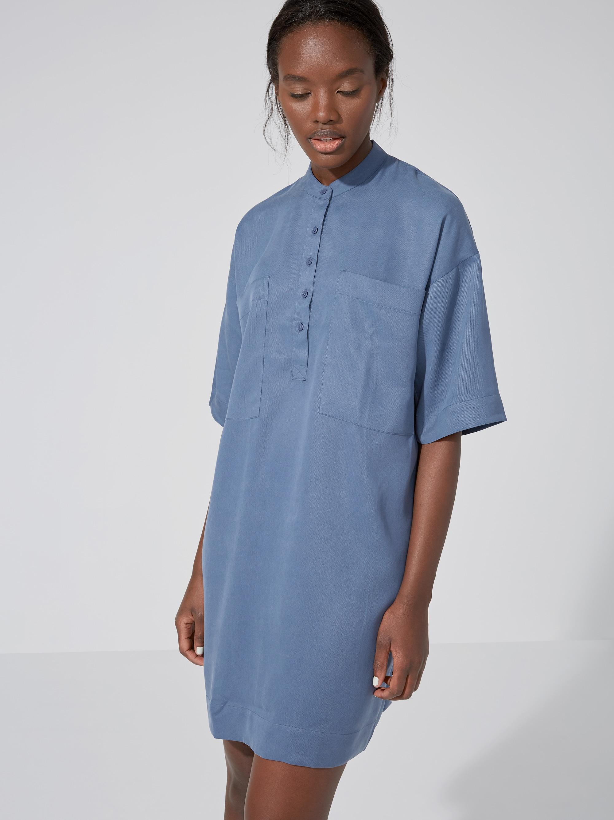 Frank oak the patch tencel shirtdress in vintage indigo for Frank and oak shirt