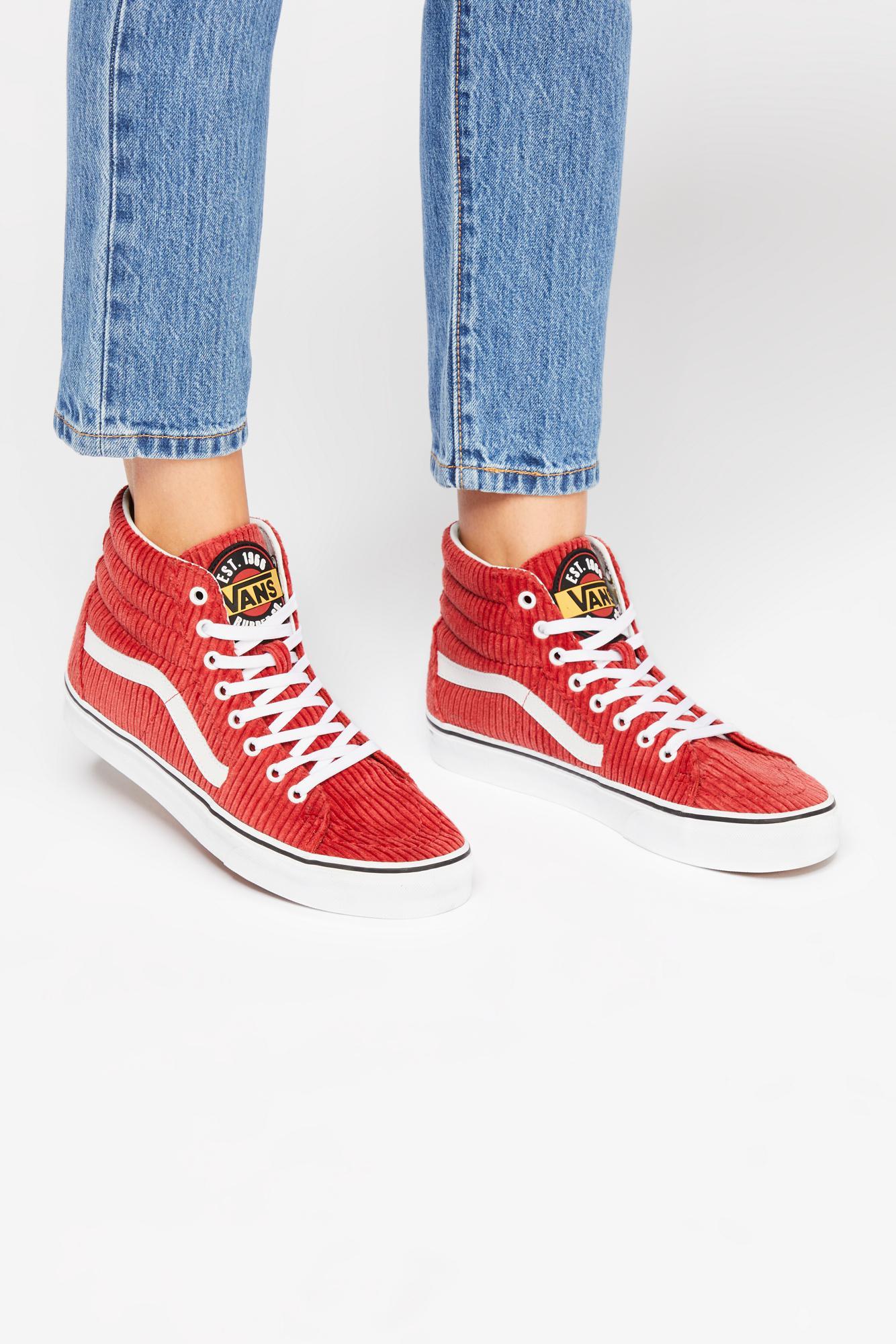 a8be2cdcb29cc6 Lyst - Free People Sk8-hi Corduroy Hi Top Sneaker By Vans in Orange