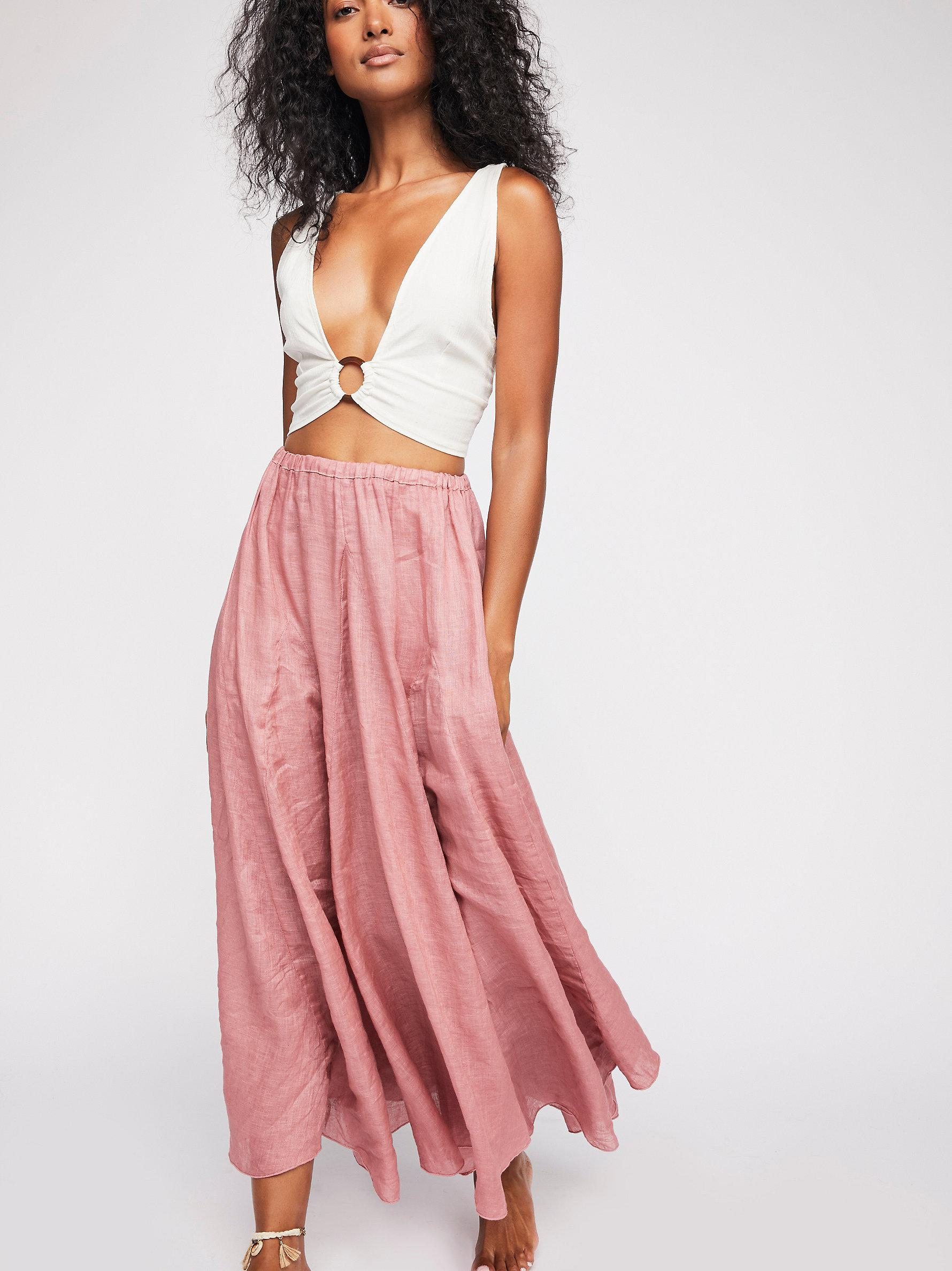 d9268503287a Lyst - Free People Lily Linen Maxi Skirt in Pink