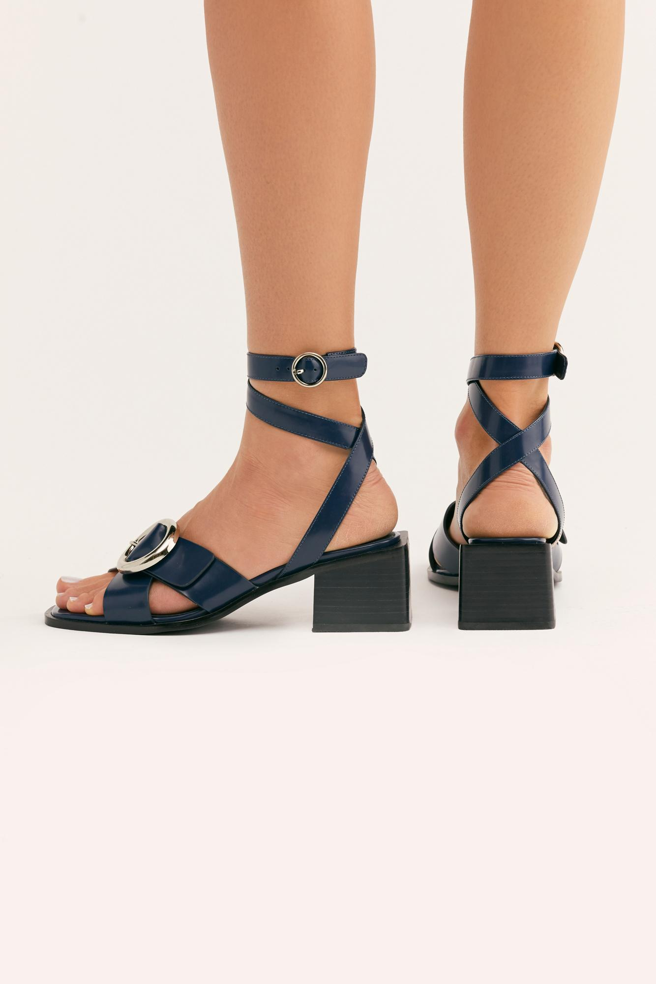 b11d81e74c4 Lyst - Free People Gellar Block Heel By Jeffrey Campbell in Blue ...