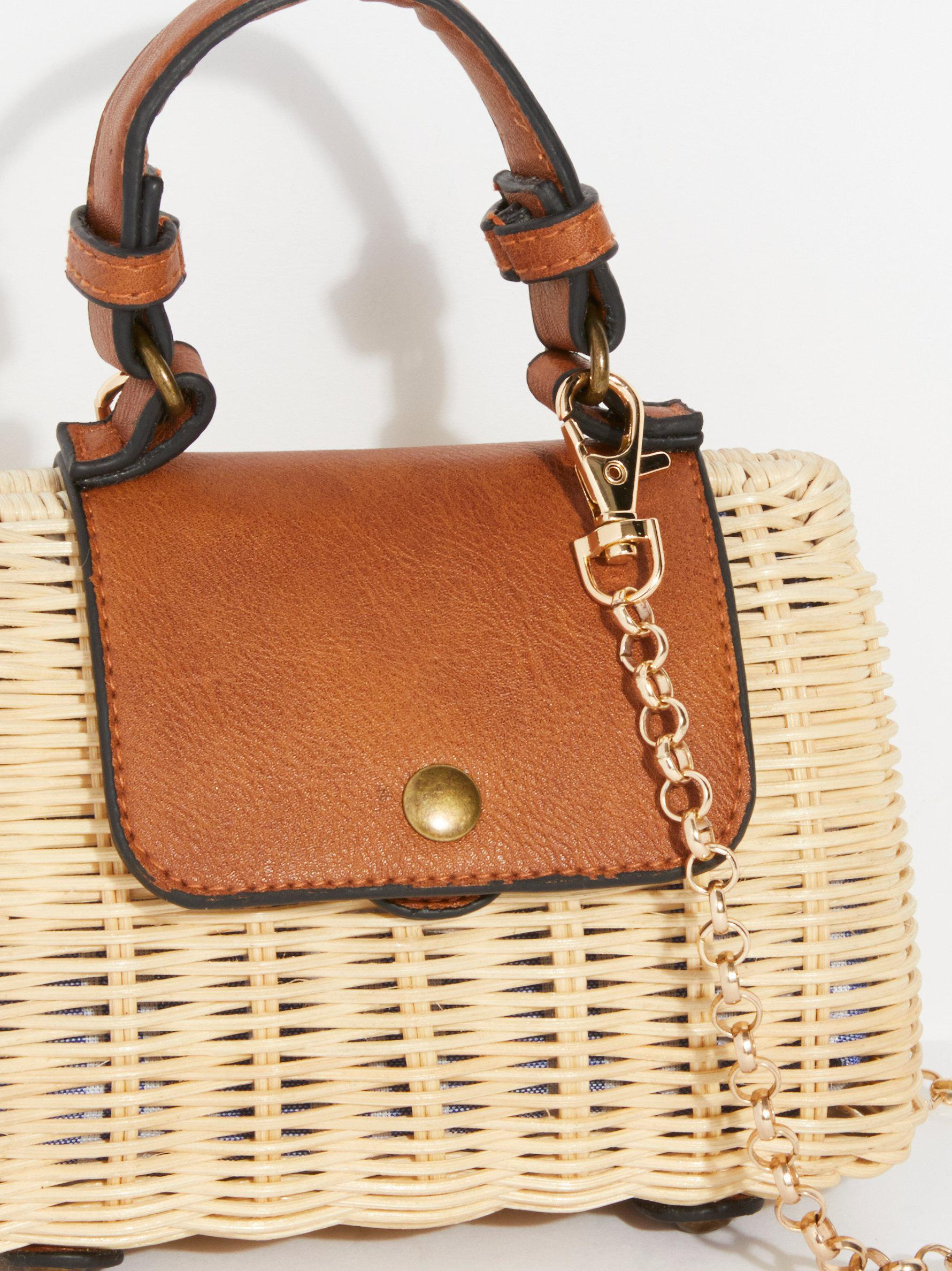 1e0af65b47d Free People Mini Wicker Crossbody Bag in Natural - Lyst