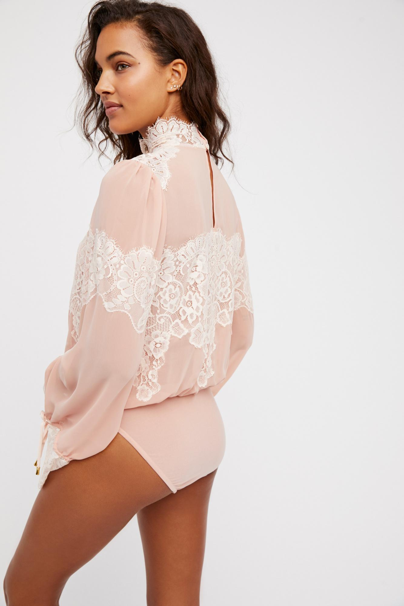 7ae47cea24dfe Free People Queen For A Day Bodysuit in Pink - Lyst