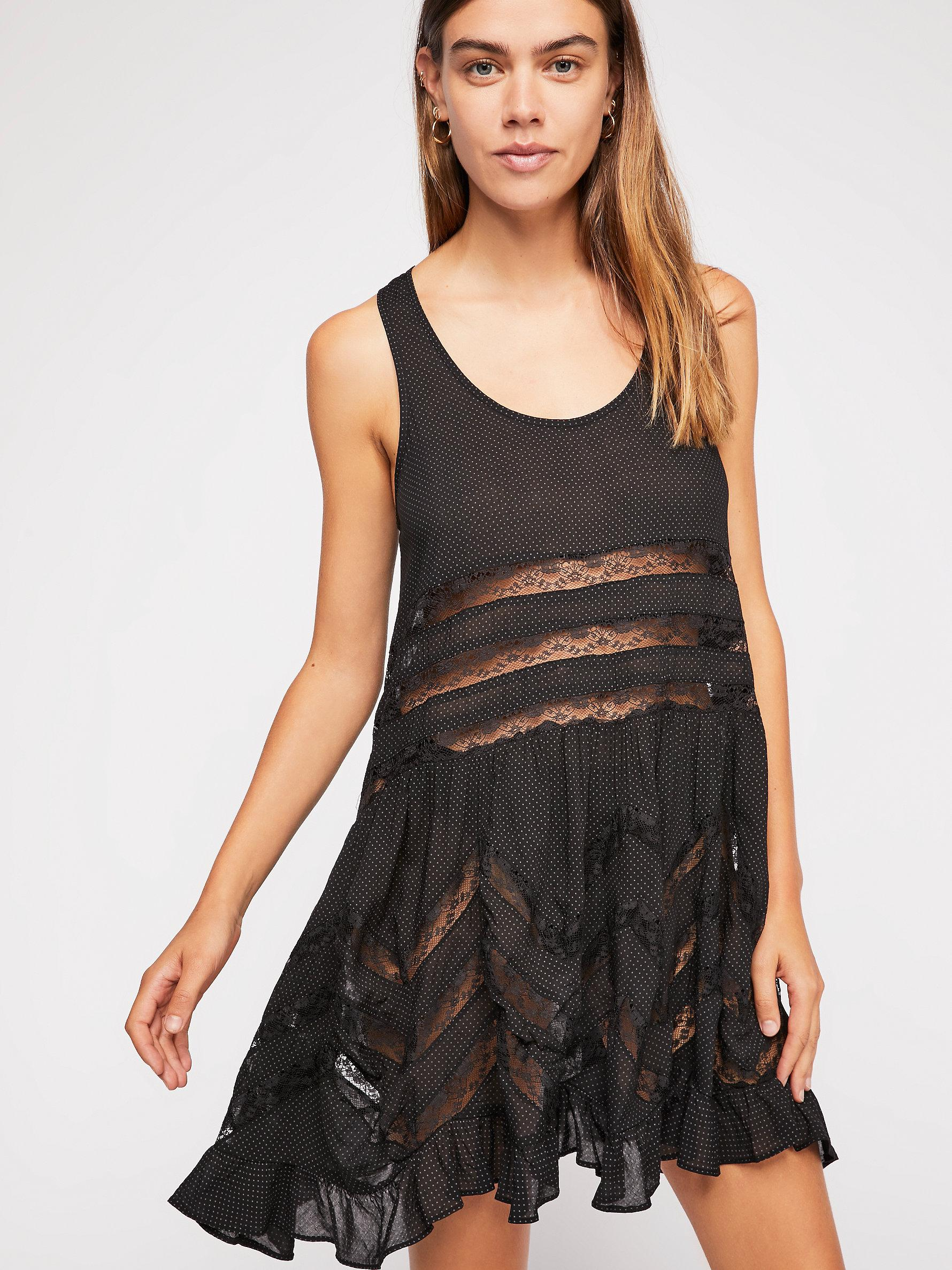 6506edcdf5fc2 Free People Voile And Lace Trapeze Slip in Black - Lyst