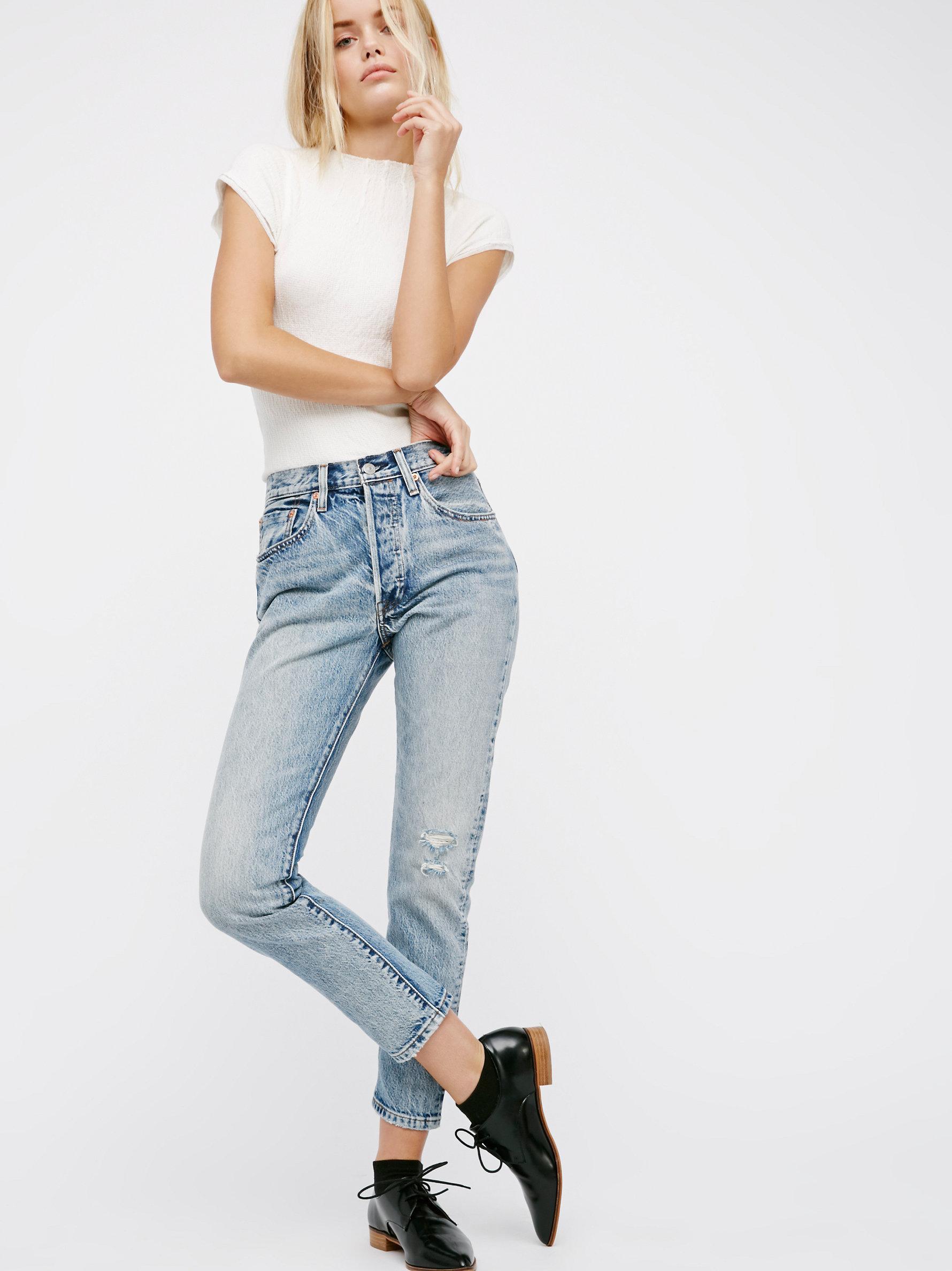 free people 501 skinny jeans in blue lyst. Black Bedroom Furniture Sets. Home Design Ideas