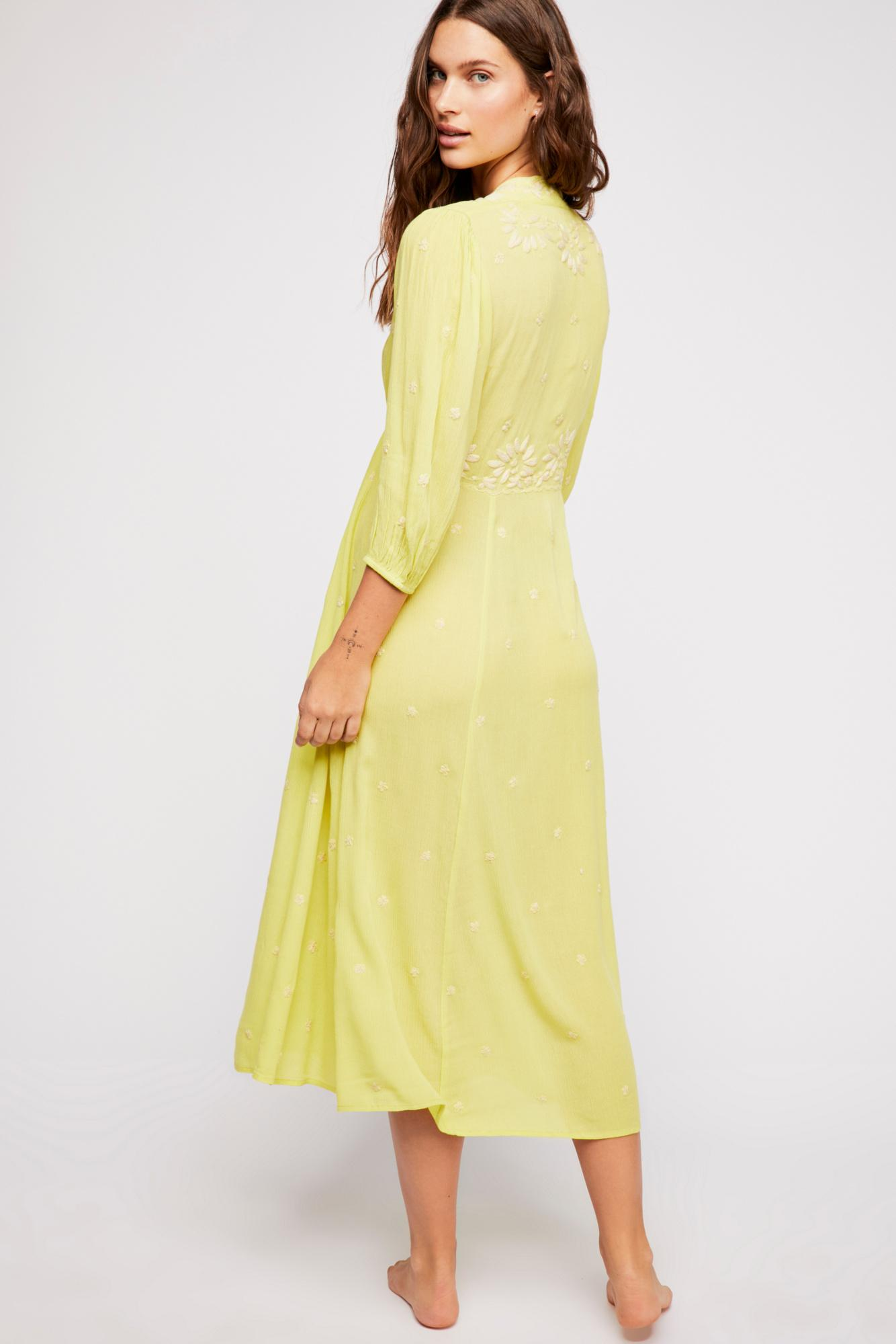 Free Embroidered Dress Yellow In Midi People Lyst Fable 34Lj5RqcA