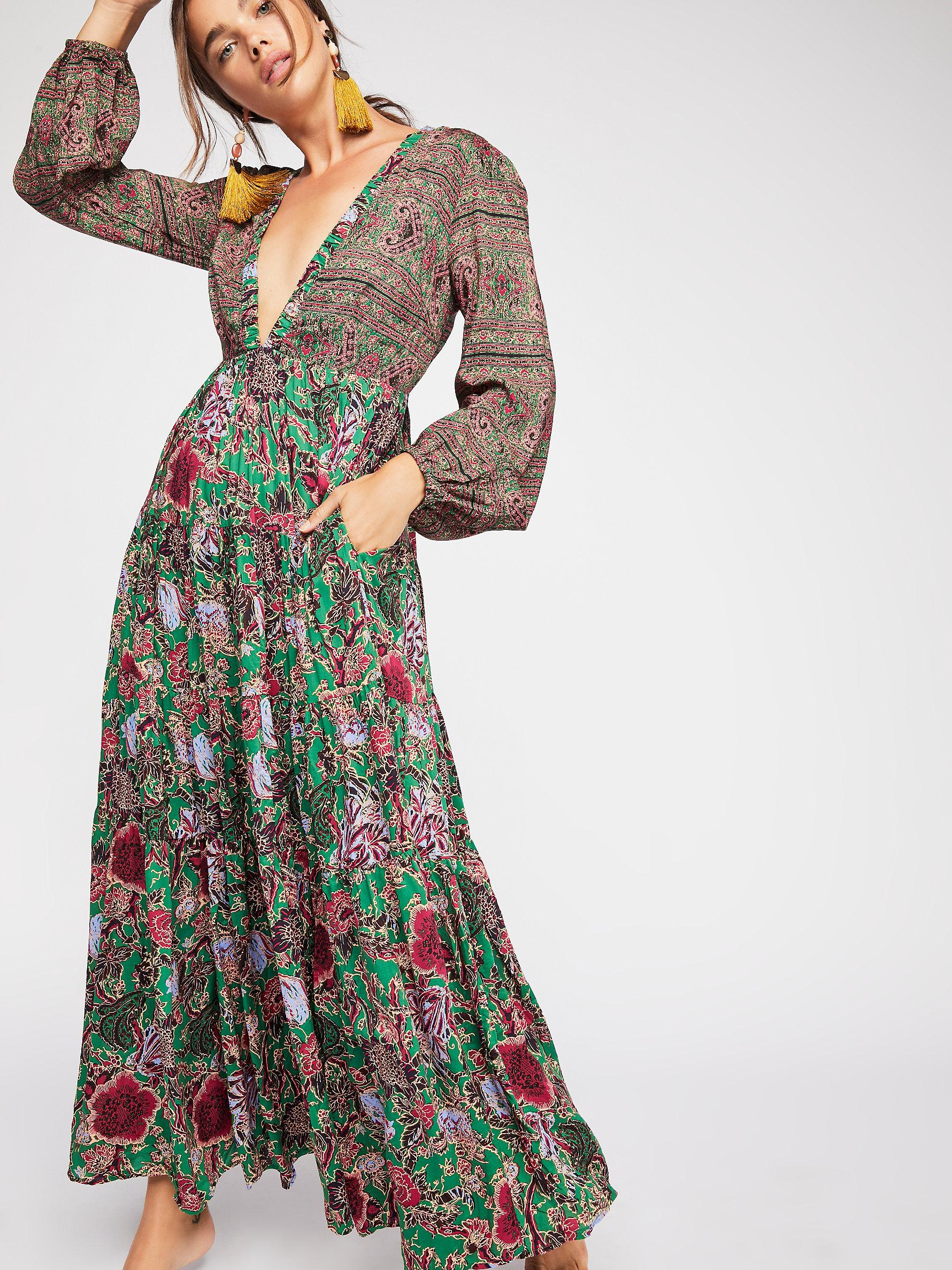 88044d1880a6f Free People Dove Long Sleeve Maxi Dress in Green - Lyst