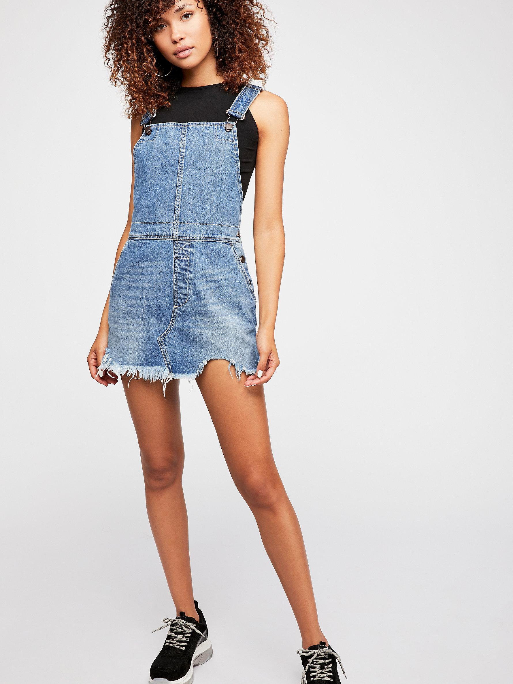 f19bdbf6b5 Lyst - Free People Torn Up Pinafore Dress By We The Free in Blue