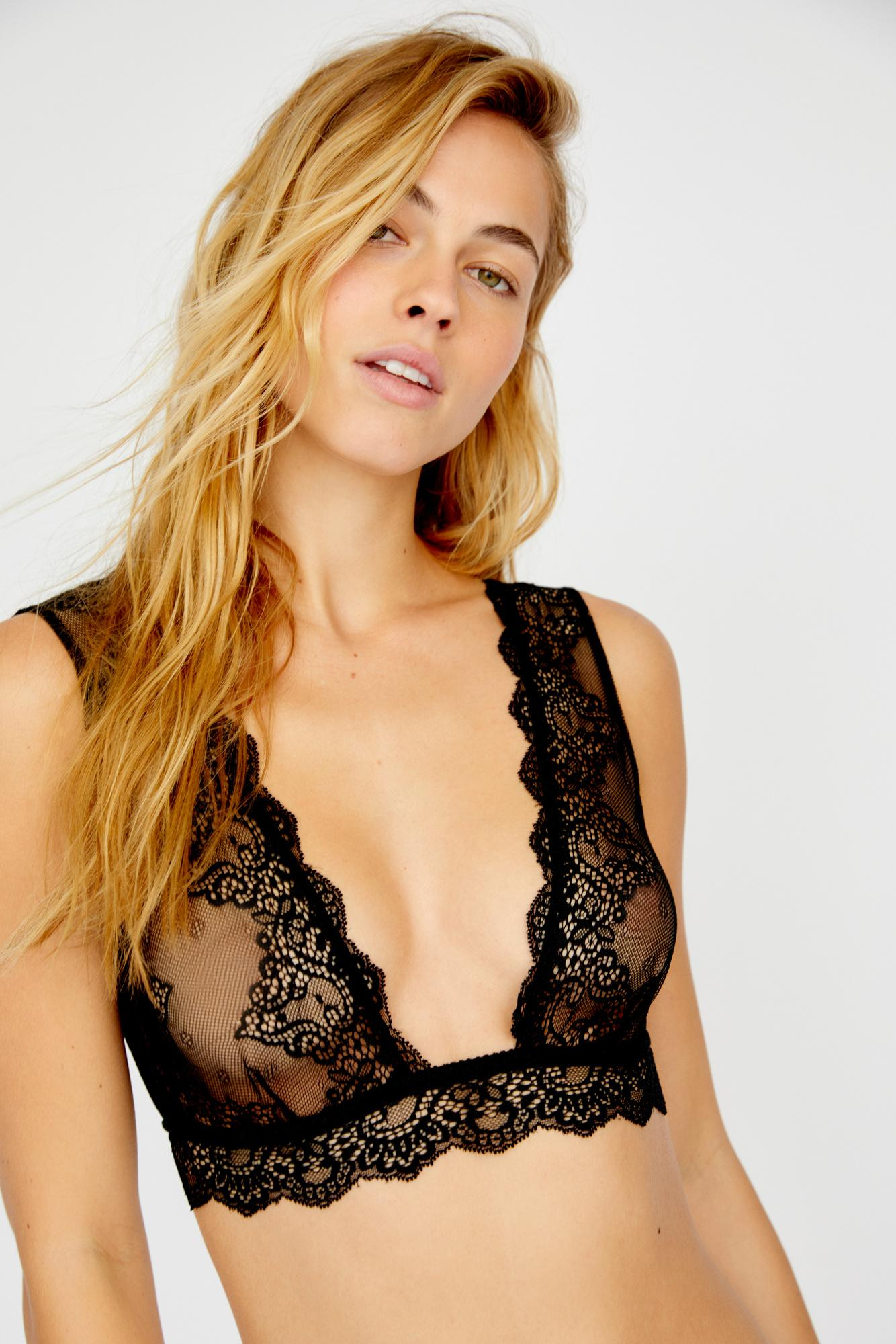 940b86b53a4 Lyst - Free People So Fine Lace Tank Bralette By Only Hearts in Black