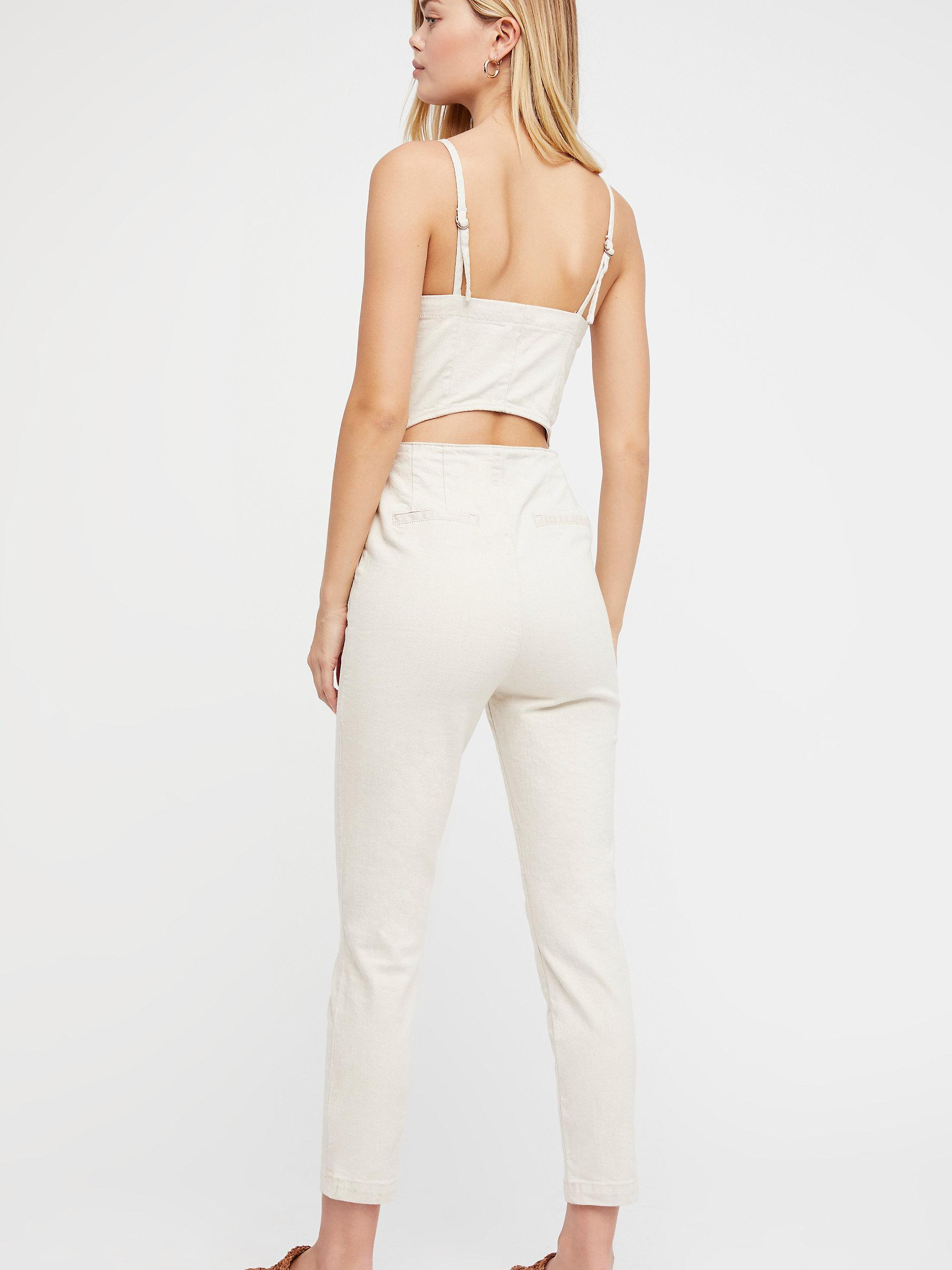 8fc95219647 Lyst - Free People Retro Denim One Piece in White