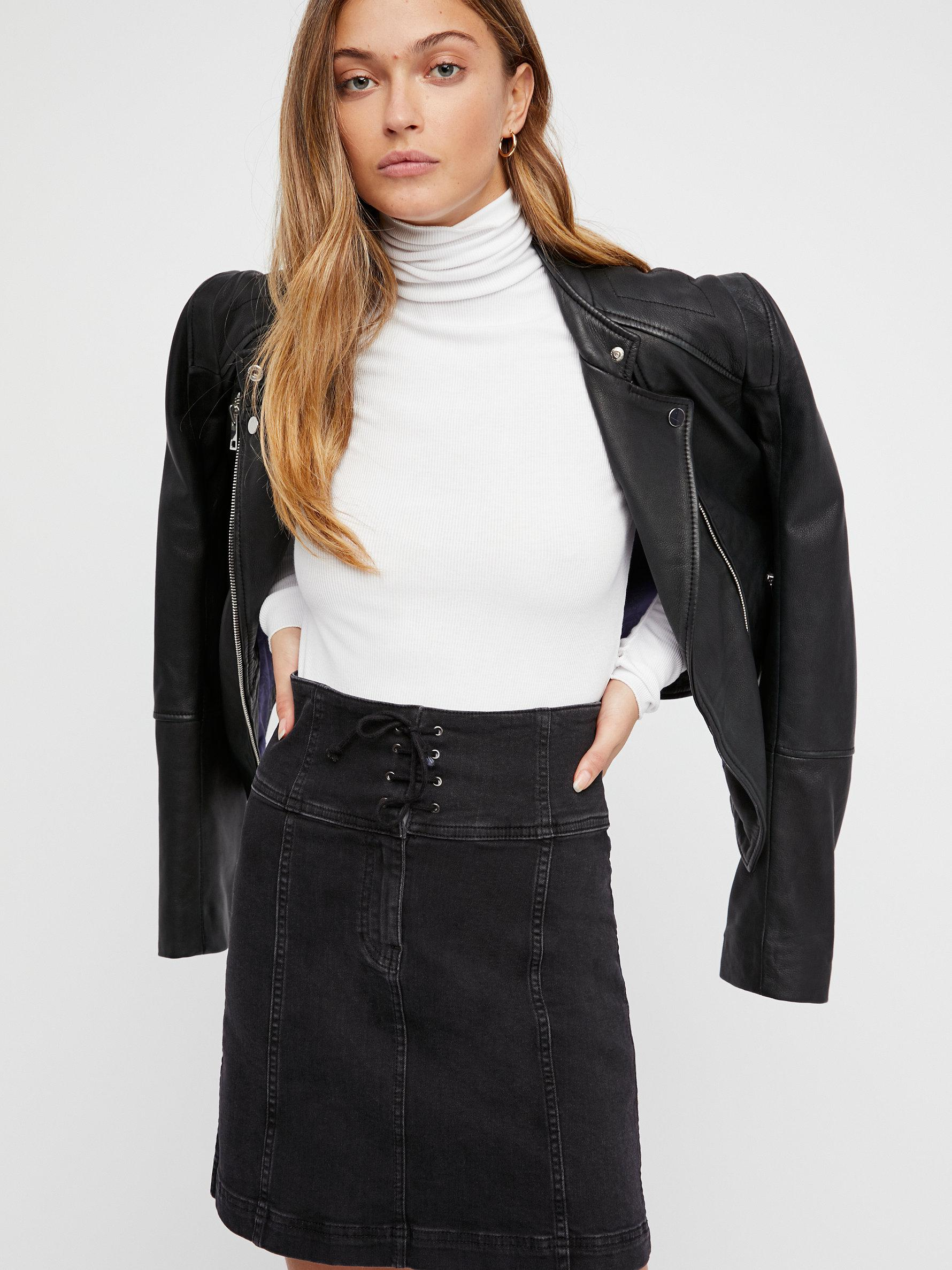 a49dddbcafe Free People Modern Femme Corset Mini Skirt in Black - Lyst