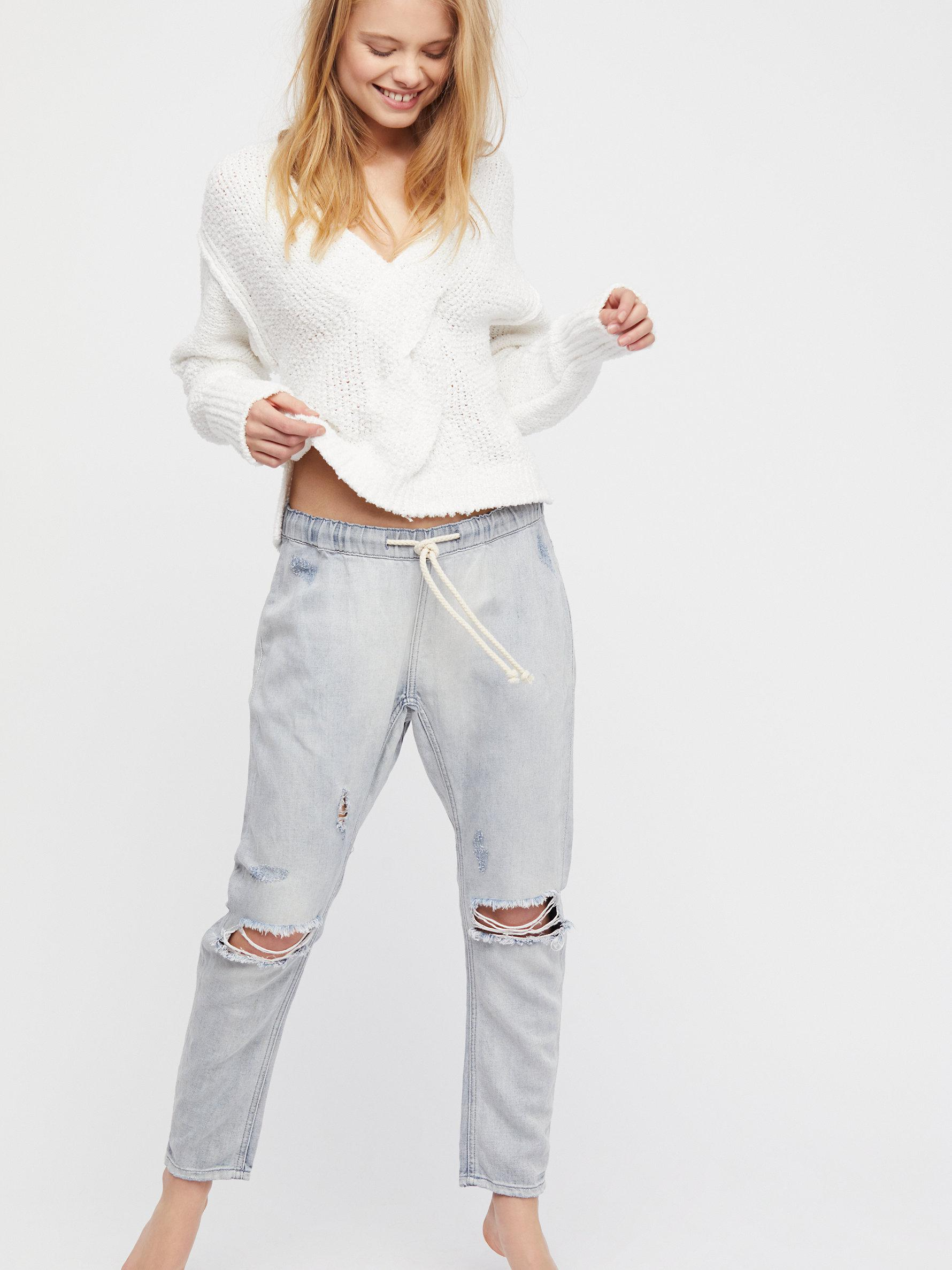 709fd5f2e92 Free People Oneteaspoon Shabbies Drawstring Boyfriend Jeans in White ...