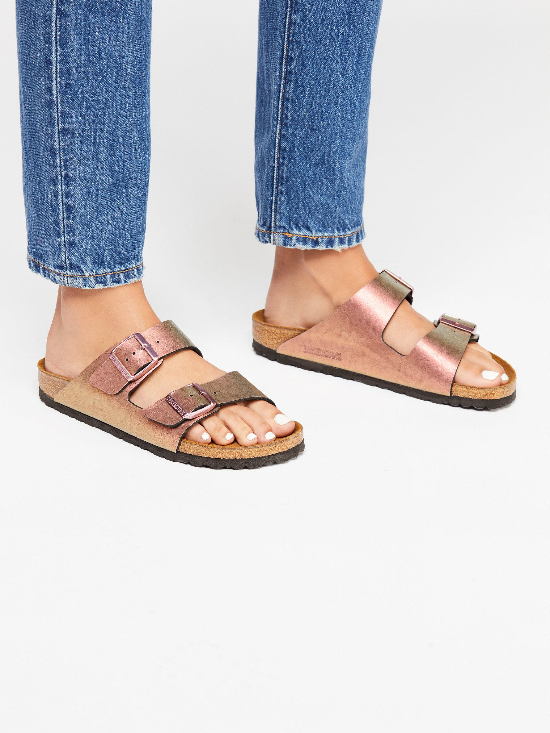 93638e0870e24 Lyst - Free People Arizona Metallic Birkenstocks