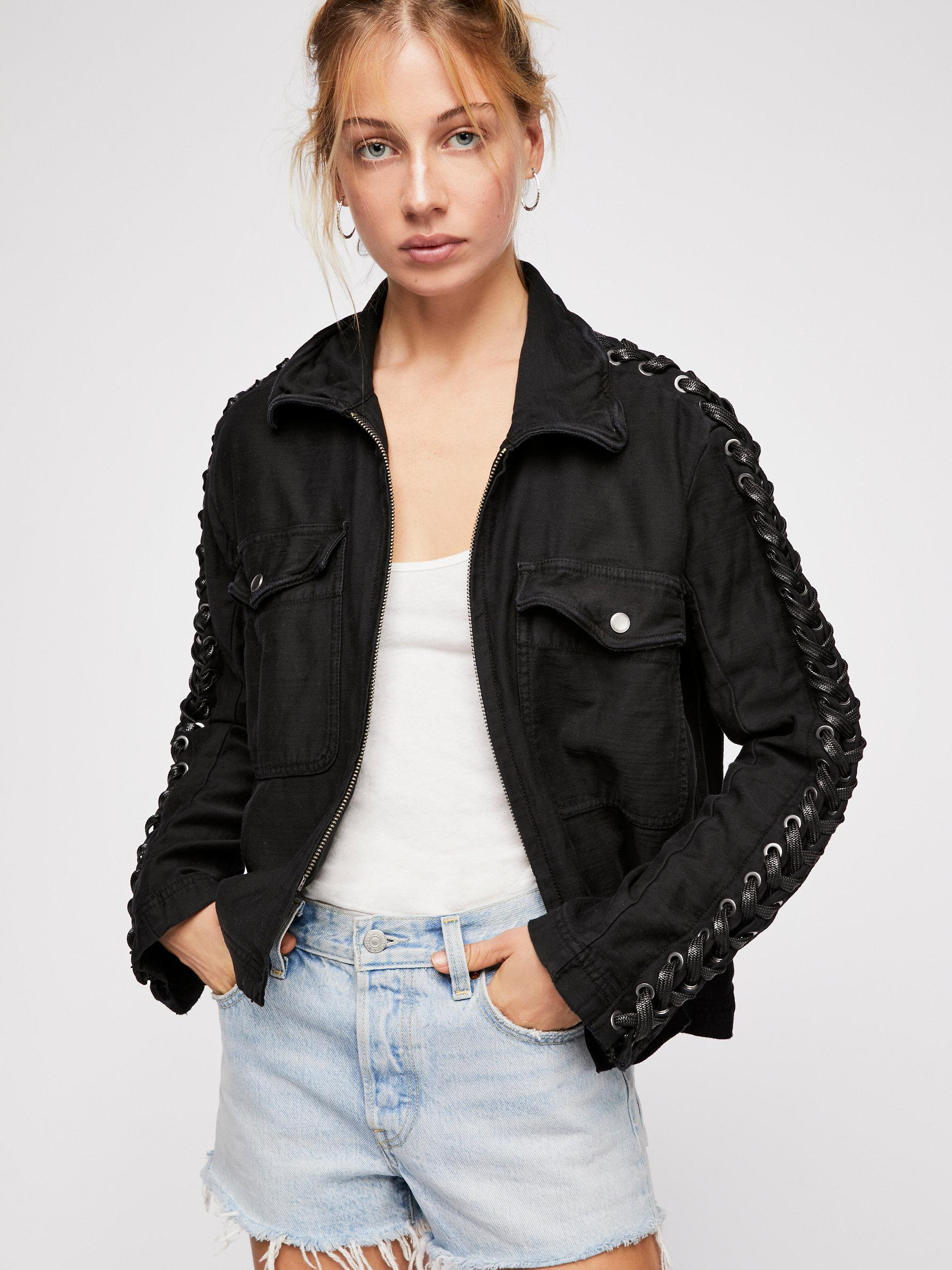 47ab3c3d0f Lyst - Free People Faye Military Jacket in Black