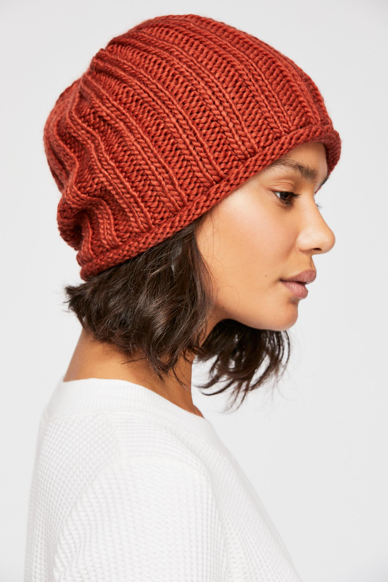 75ef3b530bb845 Free People Rory Rib Knit Beanie in Brown - Lyst