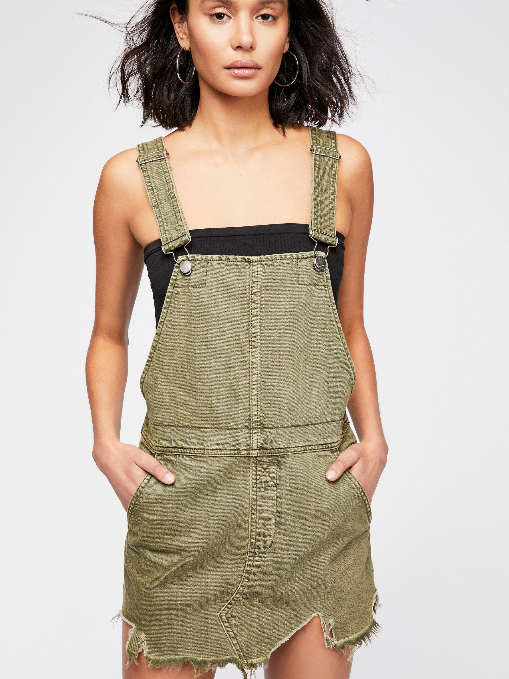 7312155c14 Lyst - Free People Torn Up Pinafore Dress By We The Free in Green