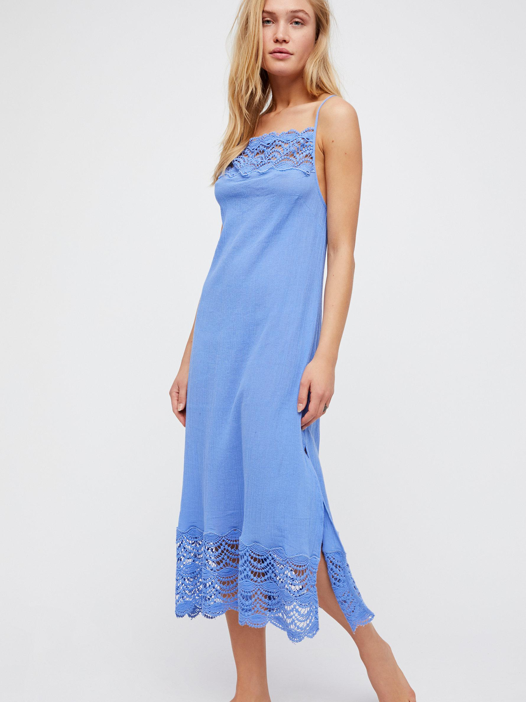 3f9bf112a1 Free People Abbie Cotton Maxi Dress in Blue - Lyst