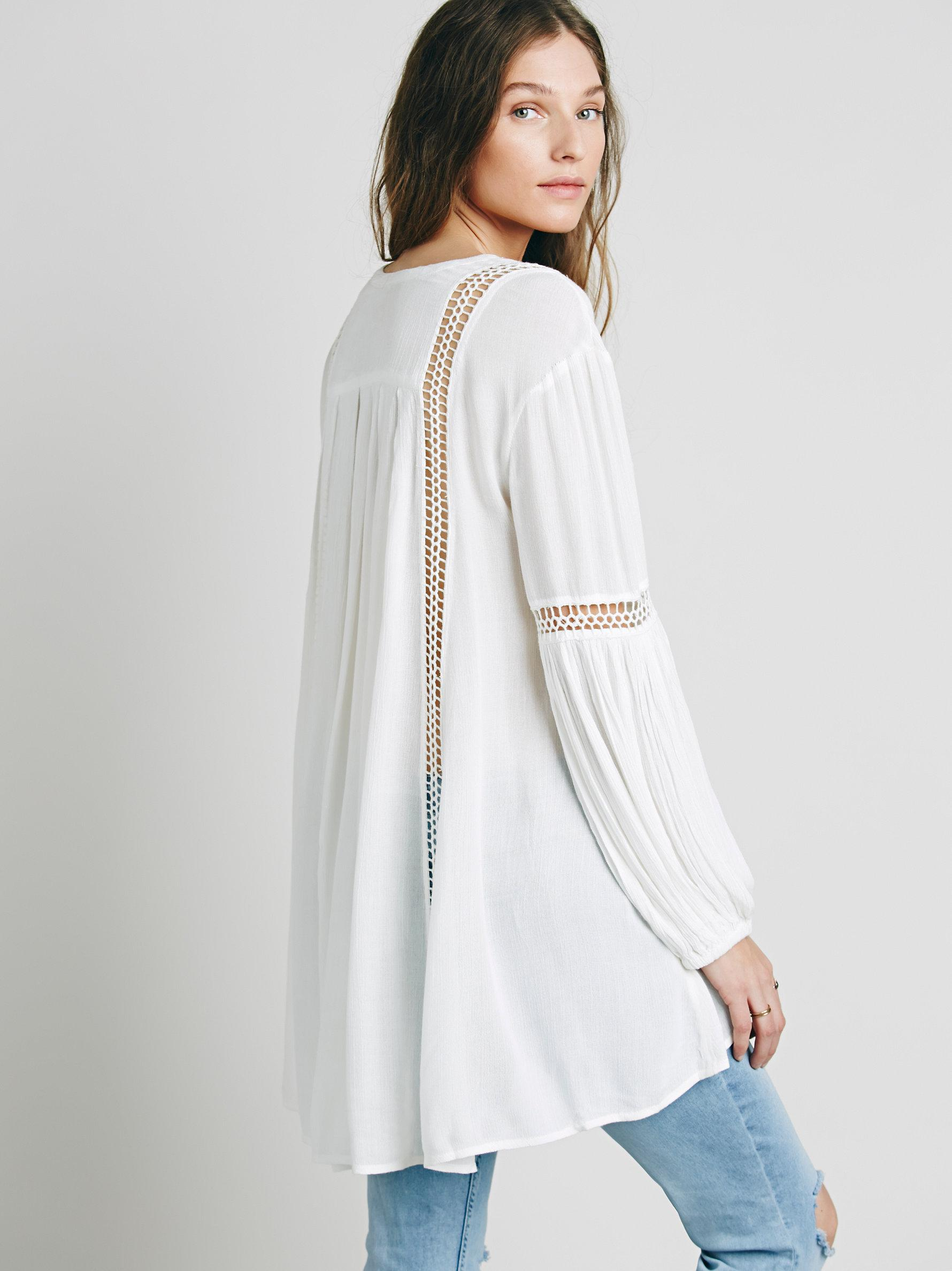 4480eae5691f Free People Babydoll Lace Inset Swing Tunic in White - Lyst