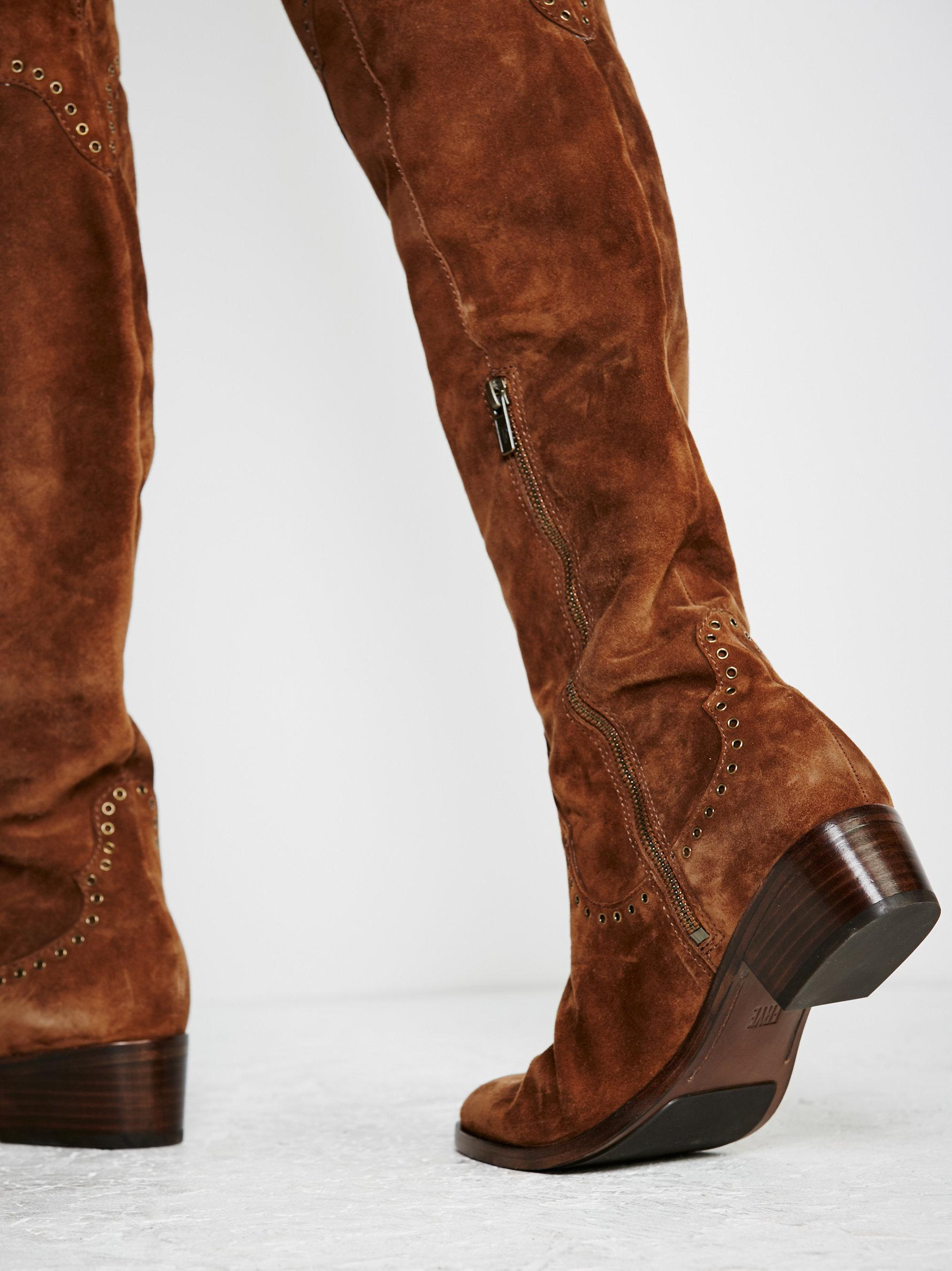 378fa6e4b8a Lyst - Free People Cara Eyelet Over The Knee Boot