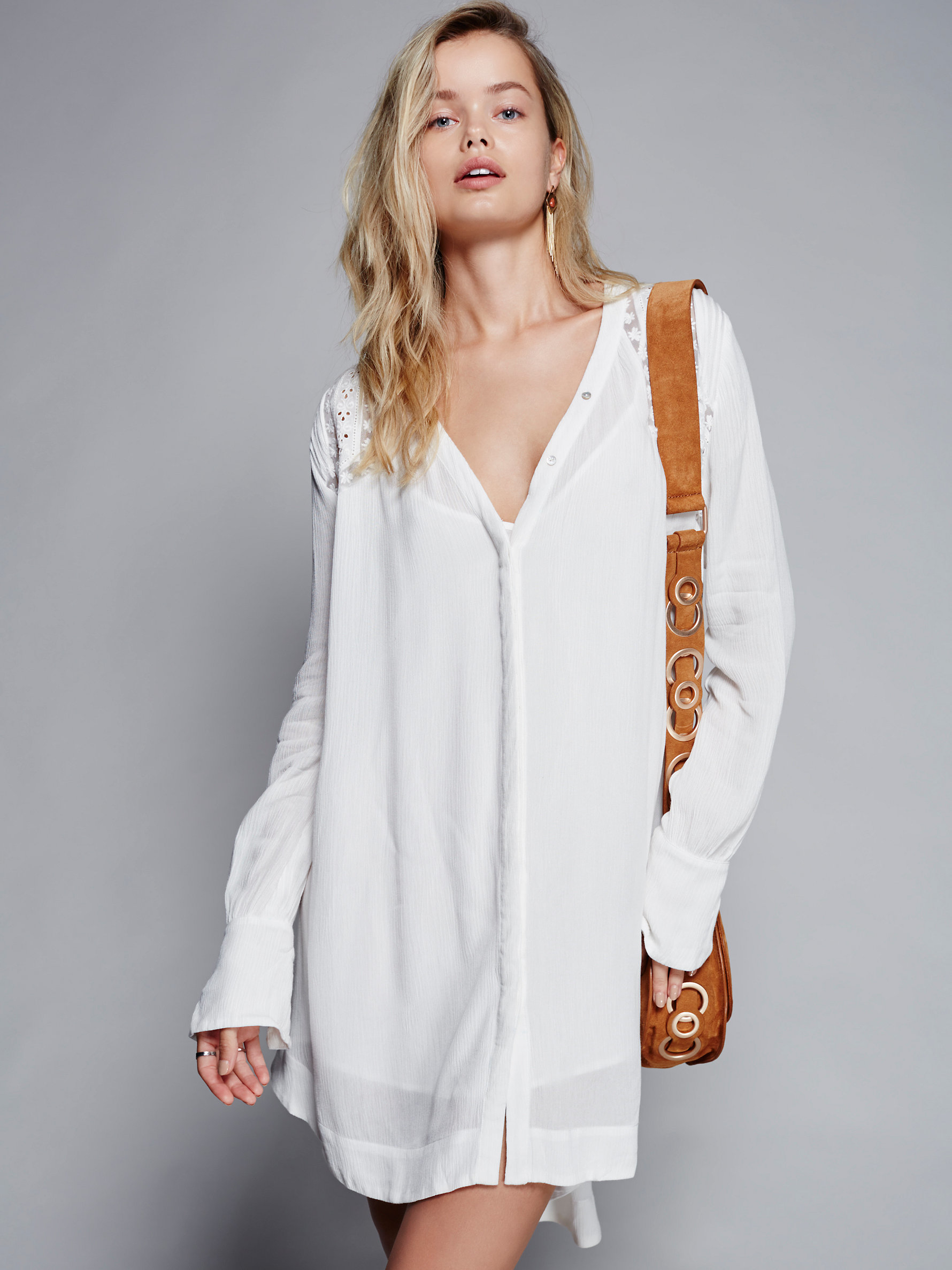Free People Courtney S Victorian Shirt Dress In White Lyst