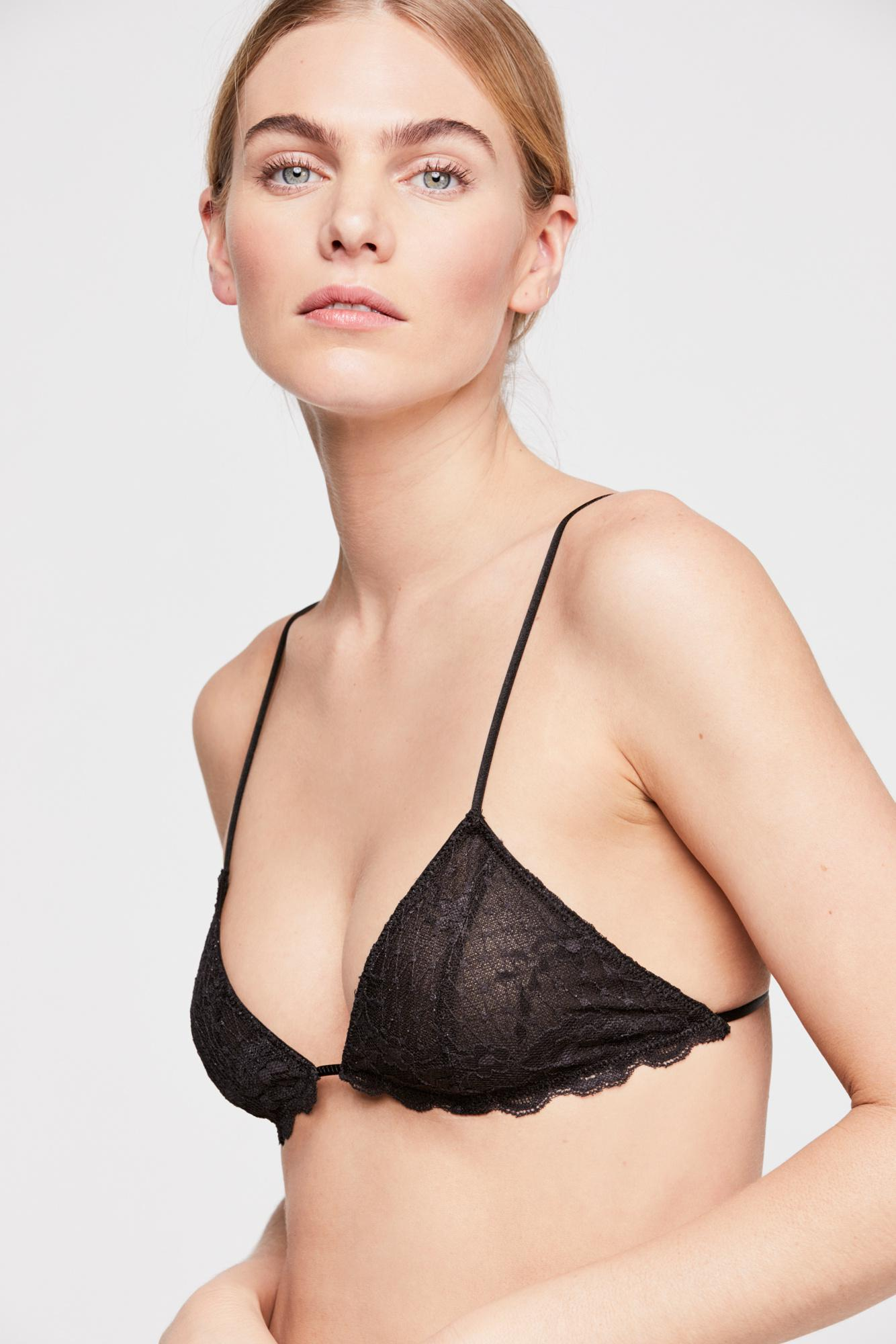 5e778591311 Lyst - Free People Essential Triangle Bra By Intimately in Black