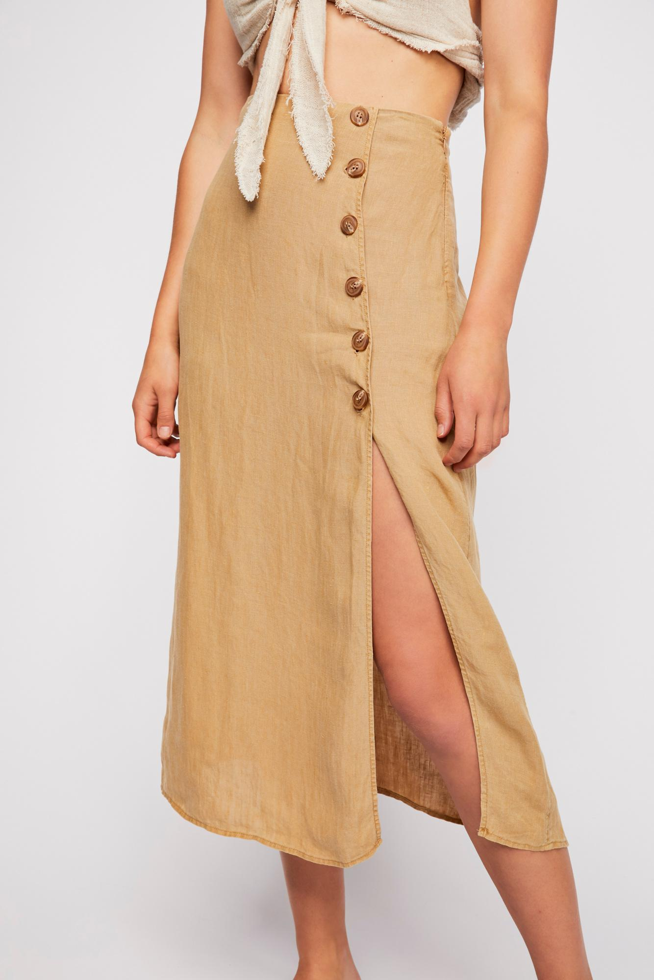 7bc3a2a51c121 Lyst - Free People Roman Holiday Midi Skirt in Metallic