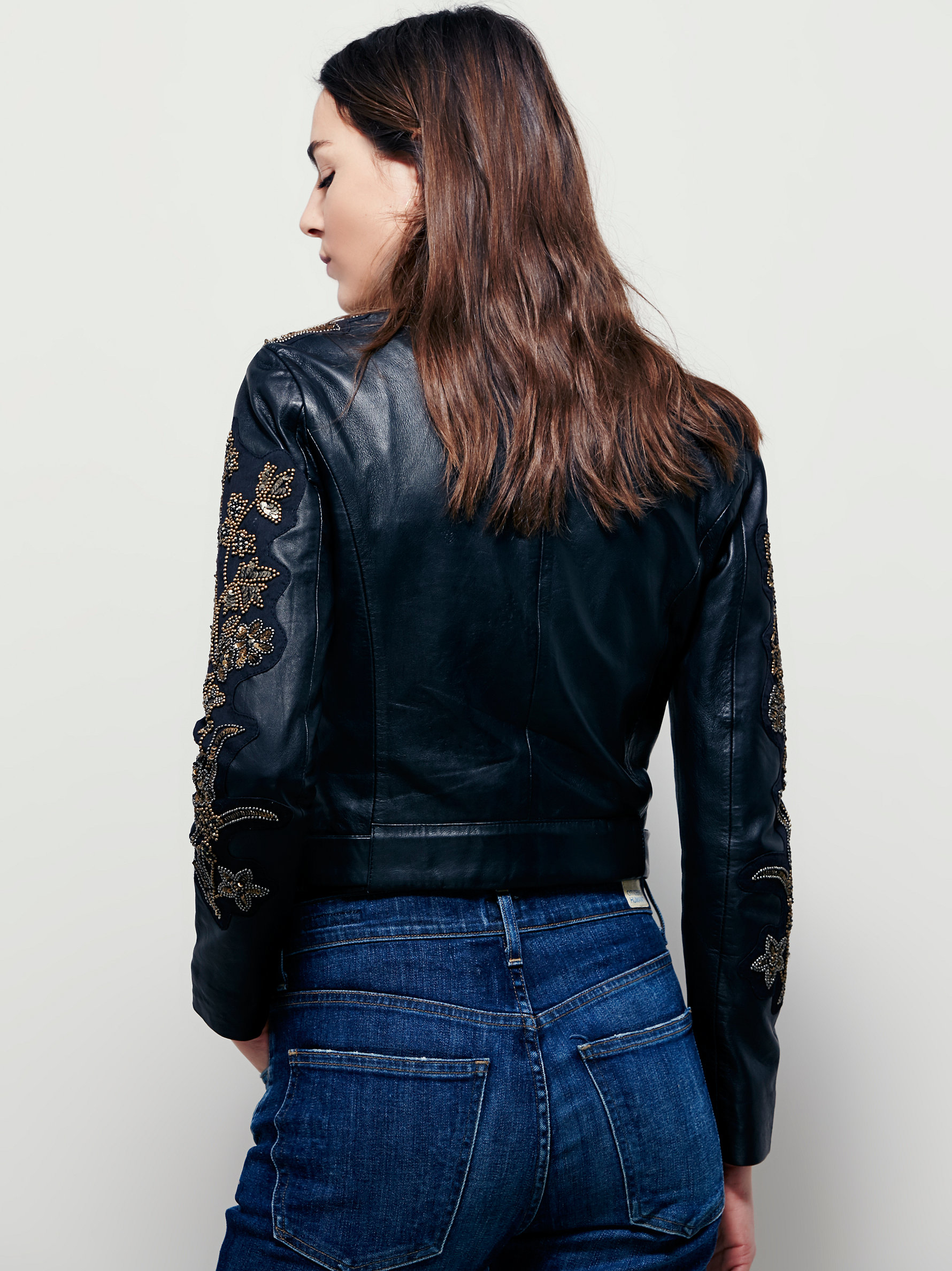 Free people doma embroidered cropped jacket in black lyst