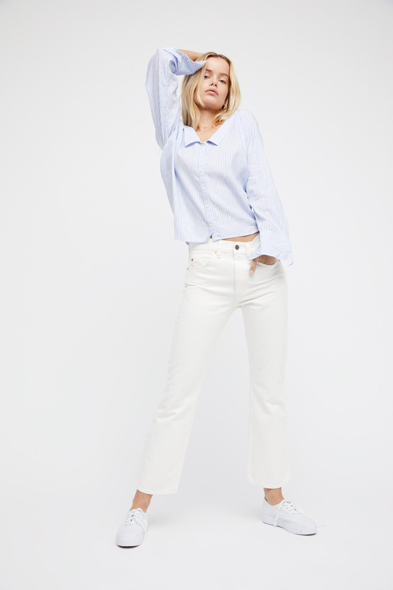 3f44146f680 Free People Levi's 517 Cropped Boot Cut Jeans in White - Lyst