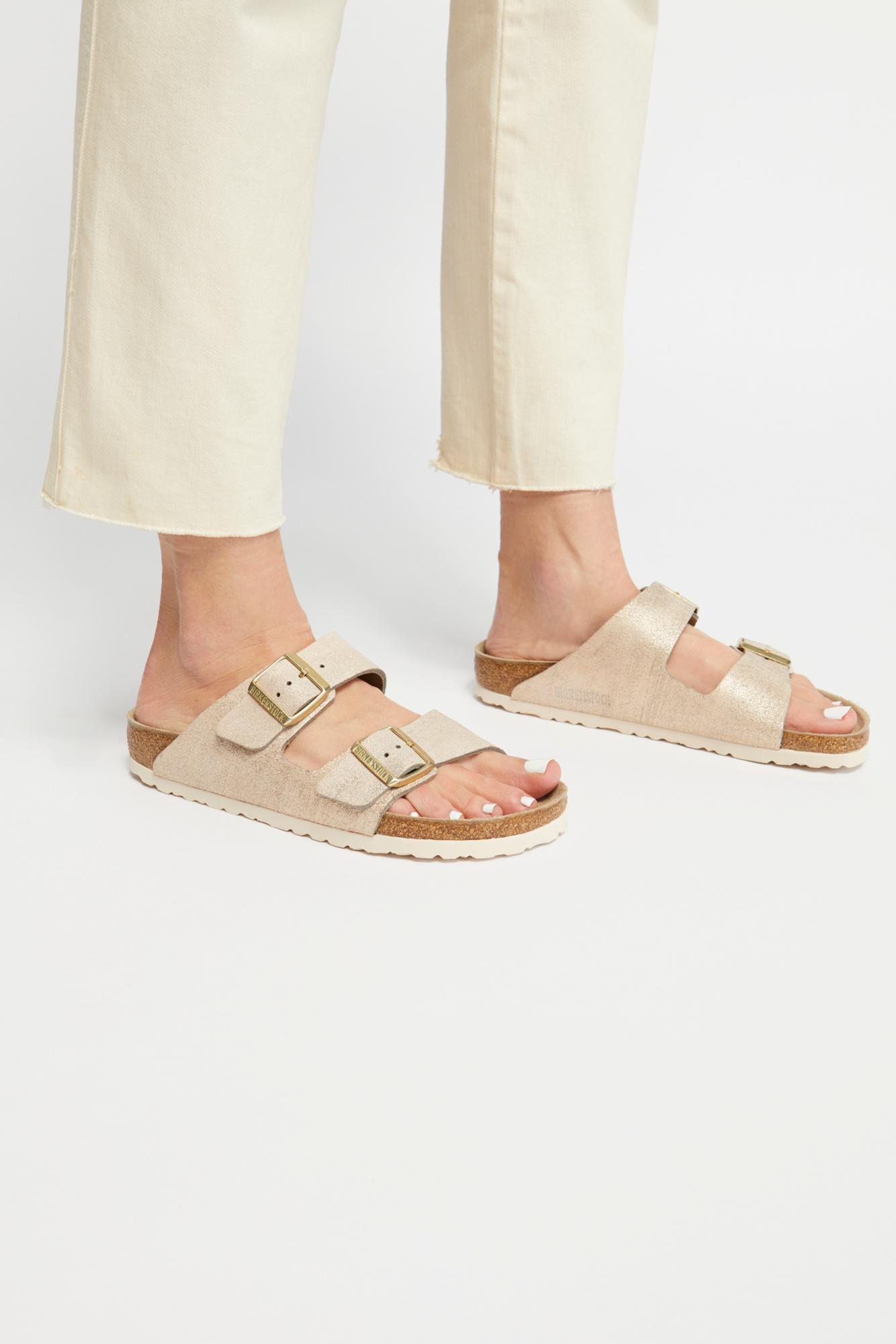 a49826156c1b0 Lyst - Free People Arizona Washed Metallic Birkenstock Sandal in Pink