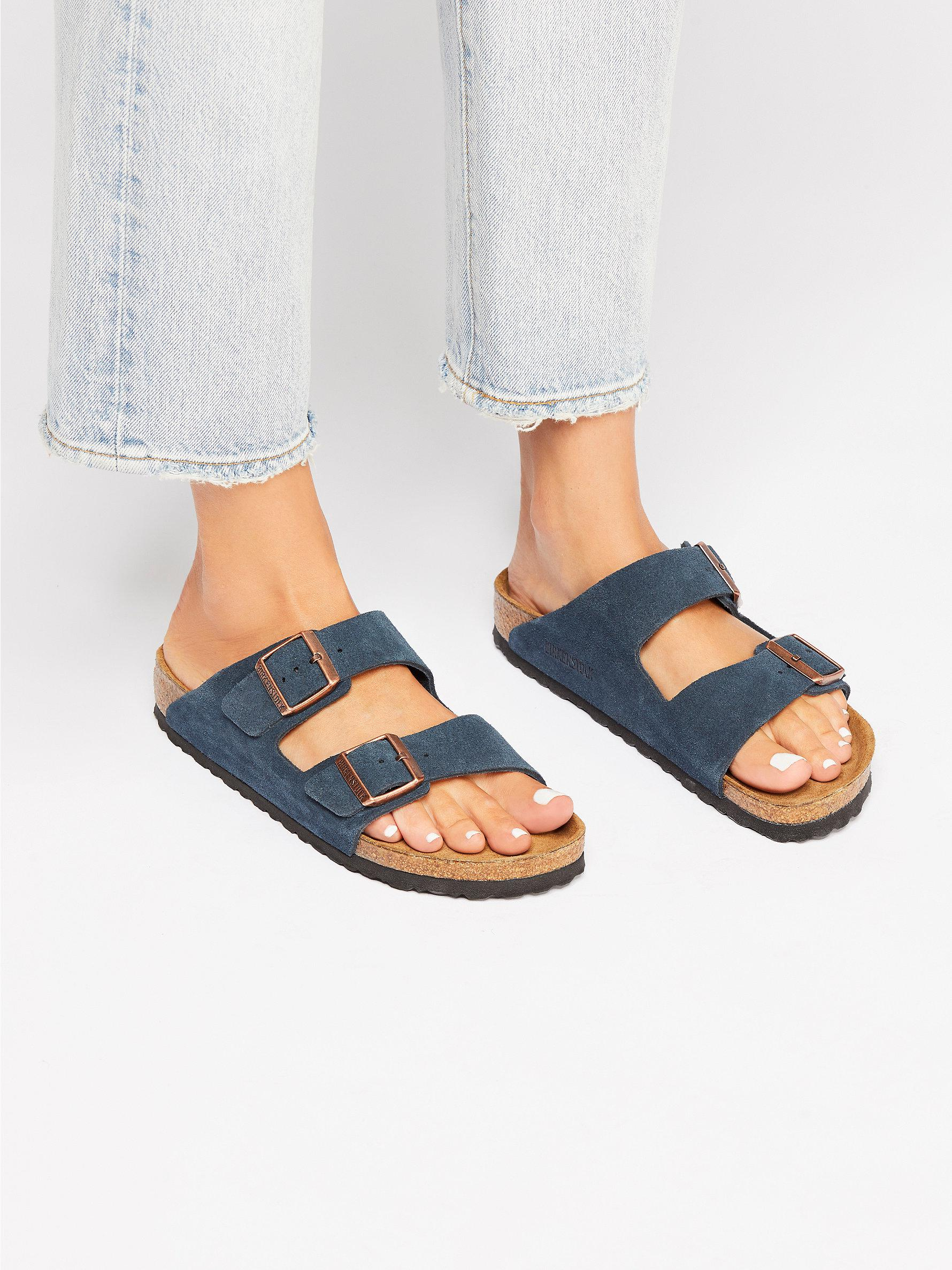 18c7c74dad5ff Lyst - Free People Arizona Soft Footbed Birkenstock in Blue