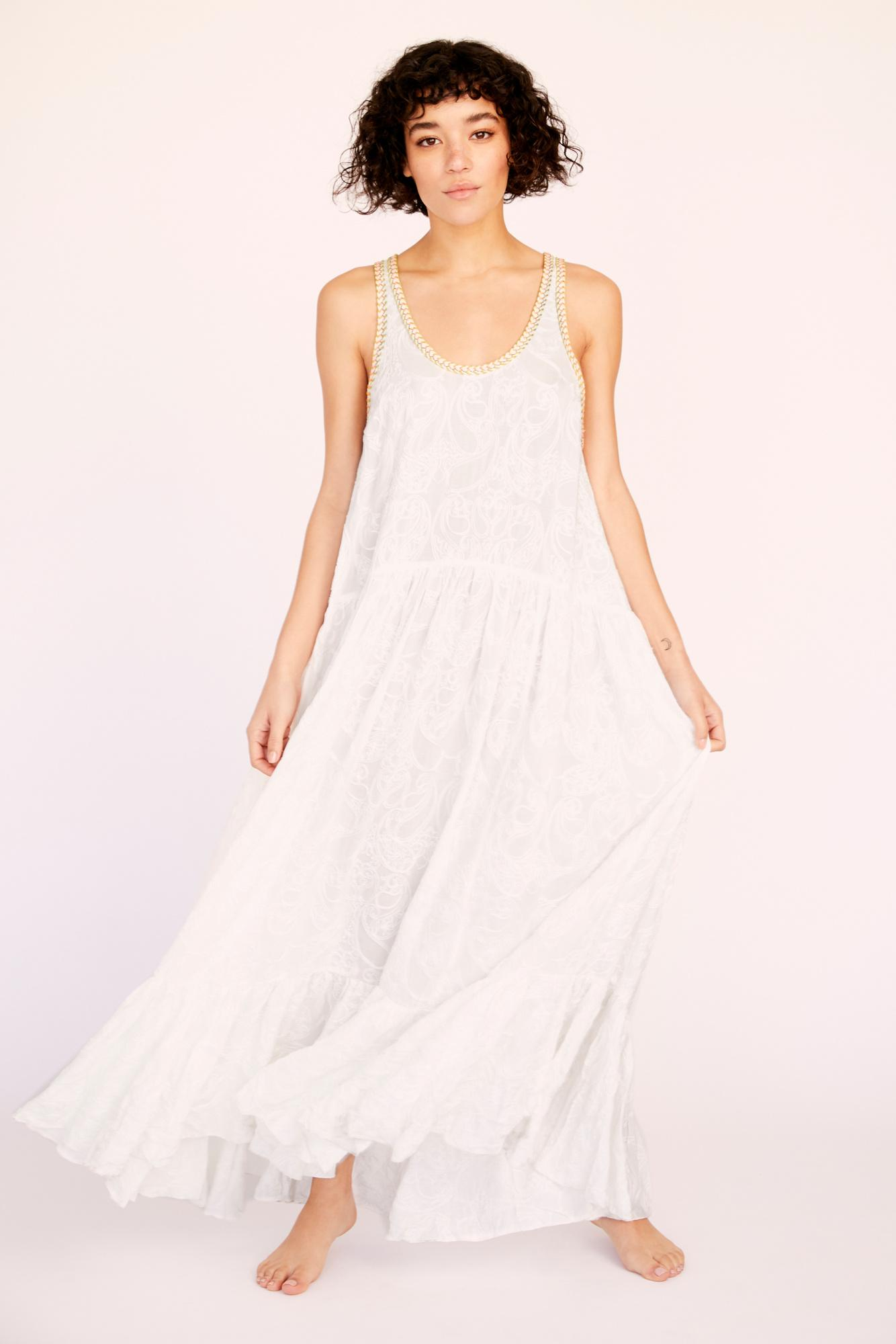 f8a3f978b77 Free People - White All The Feels Embroidered Maxi Slip By Intimately - Lyst