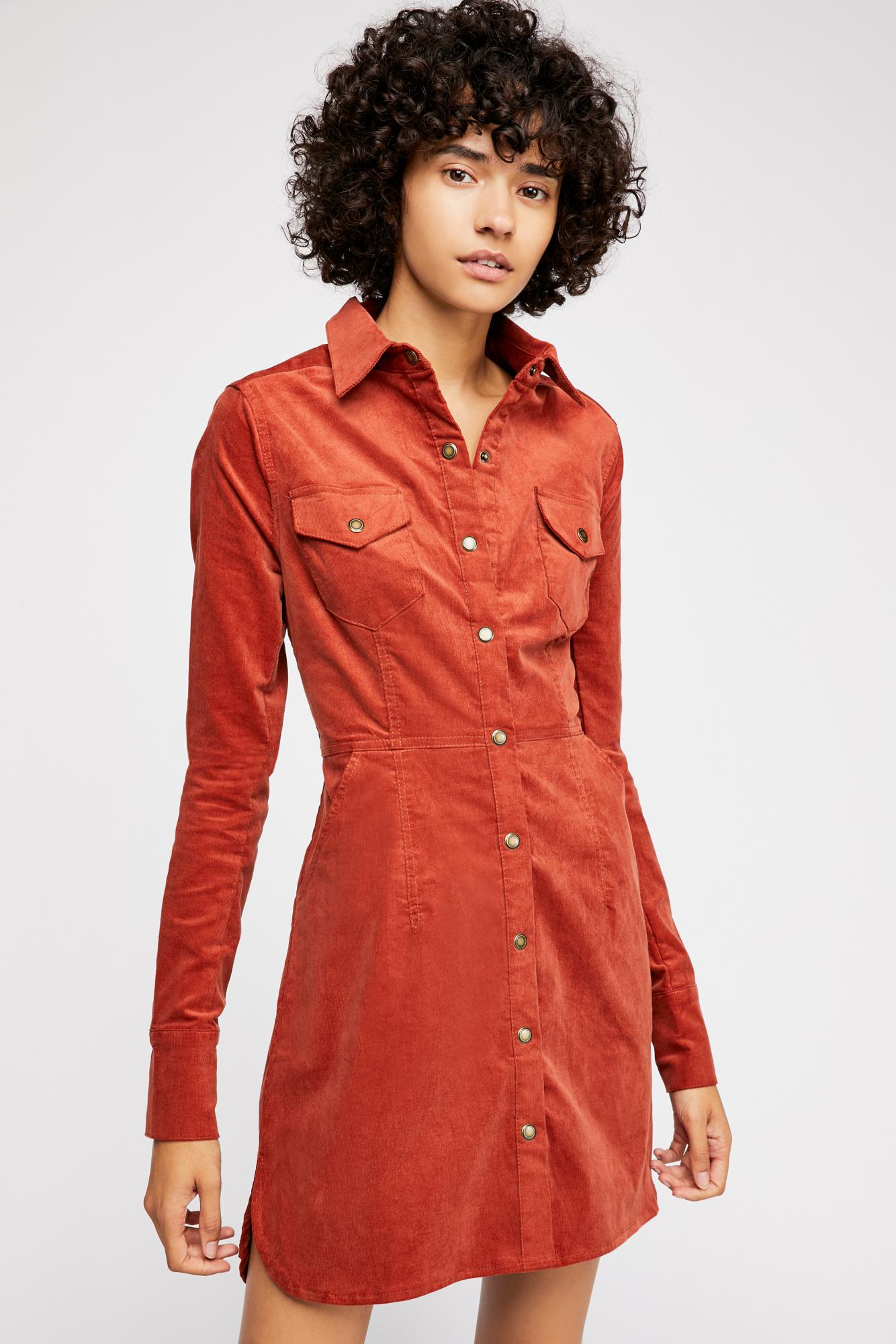 7174974619 Free People Dynamite In Cord Mini Dress in Red - Lyst