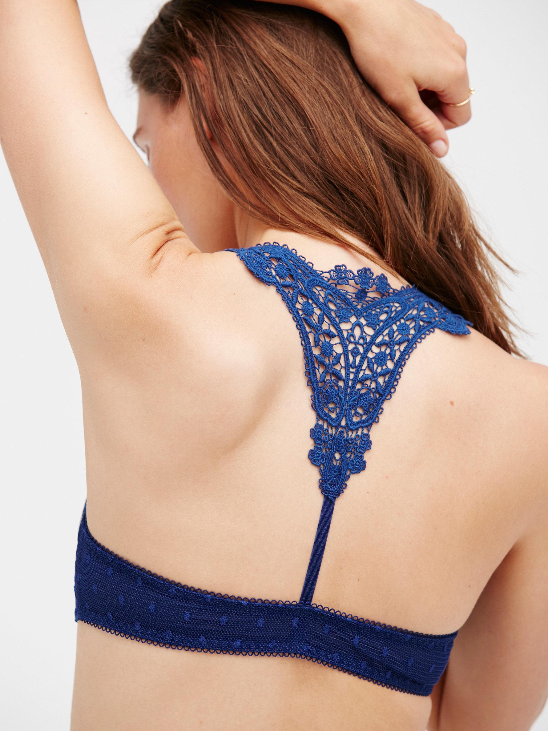 21fd59d715 Lyst - Free People Fancy Back Underwire Bra in Blue