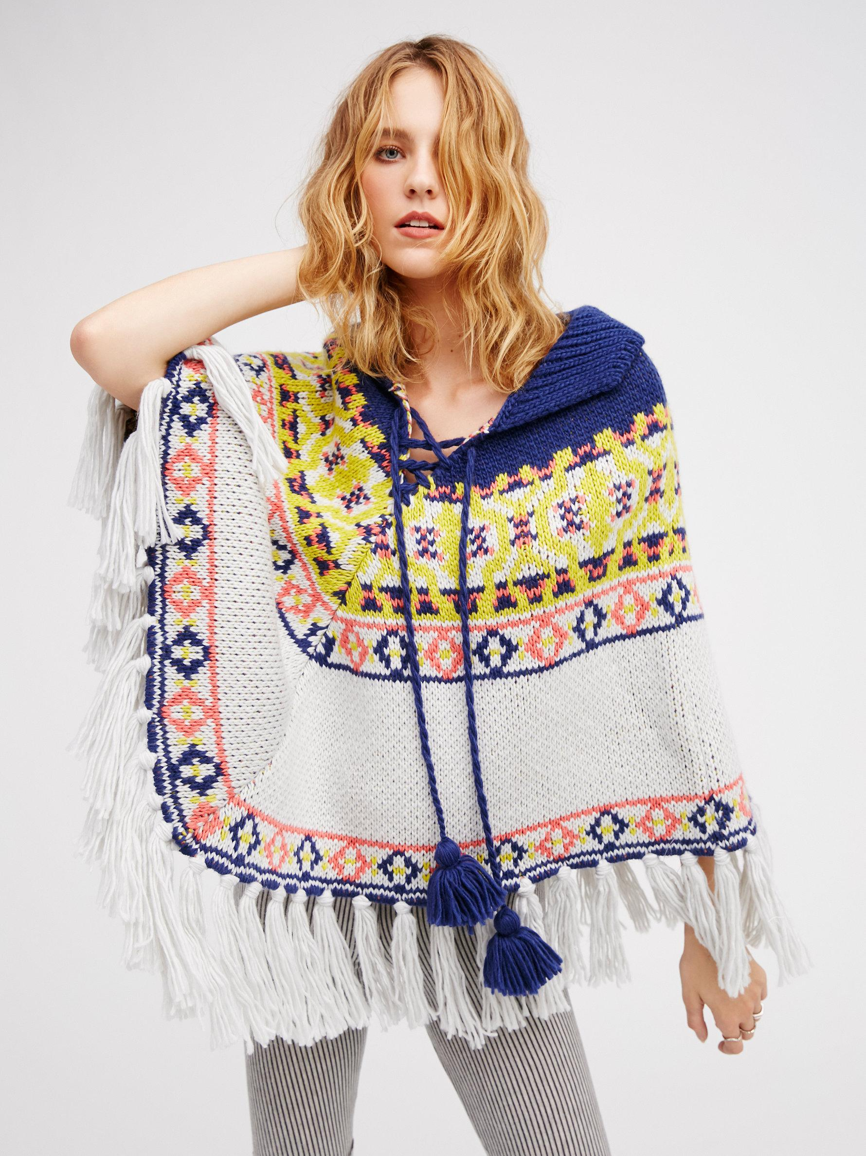 Free People High Life Fair Isle Poncho in Blue - Lyst