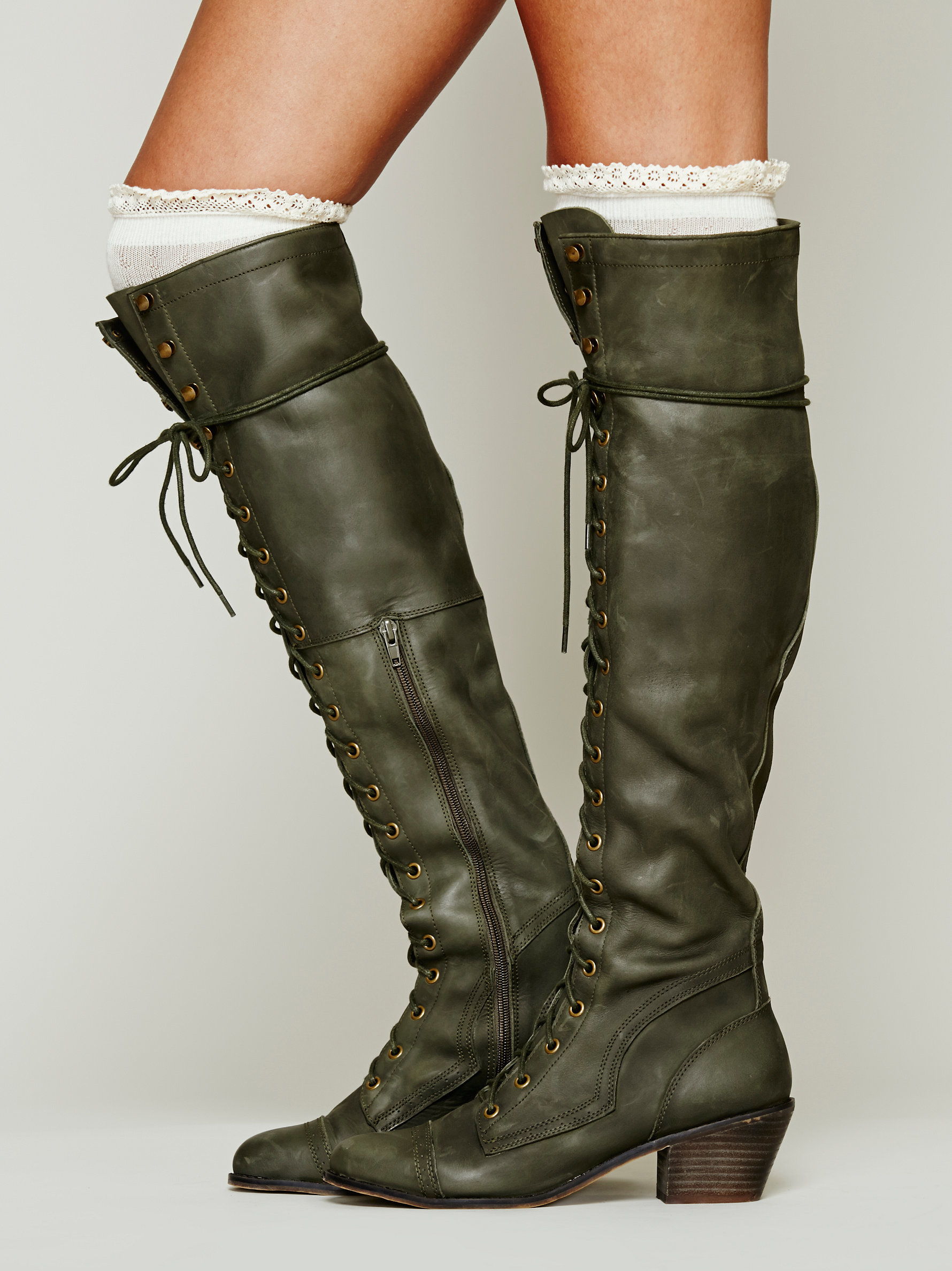 Lyst Free People Joe Lace Up Boot In Natural