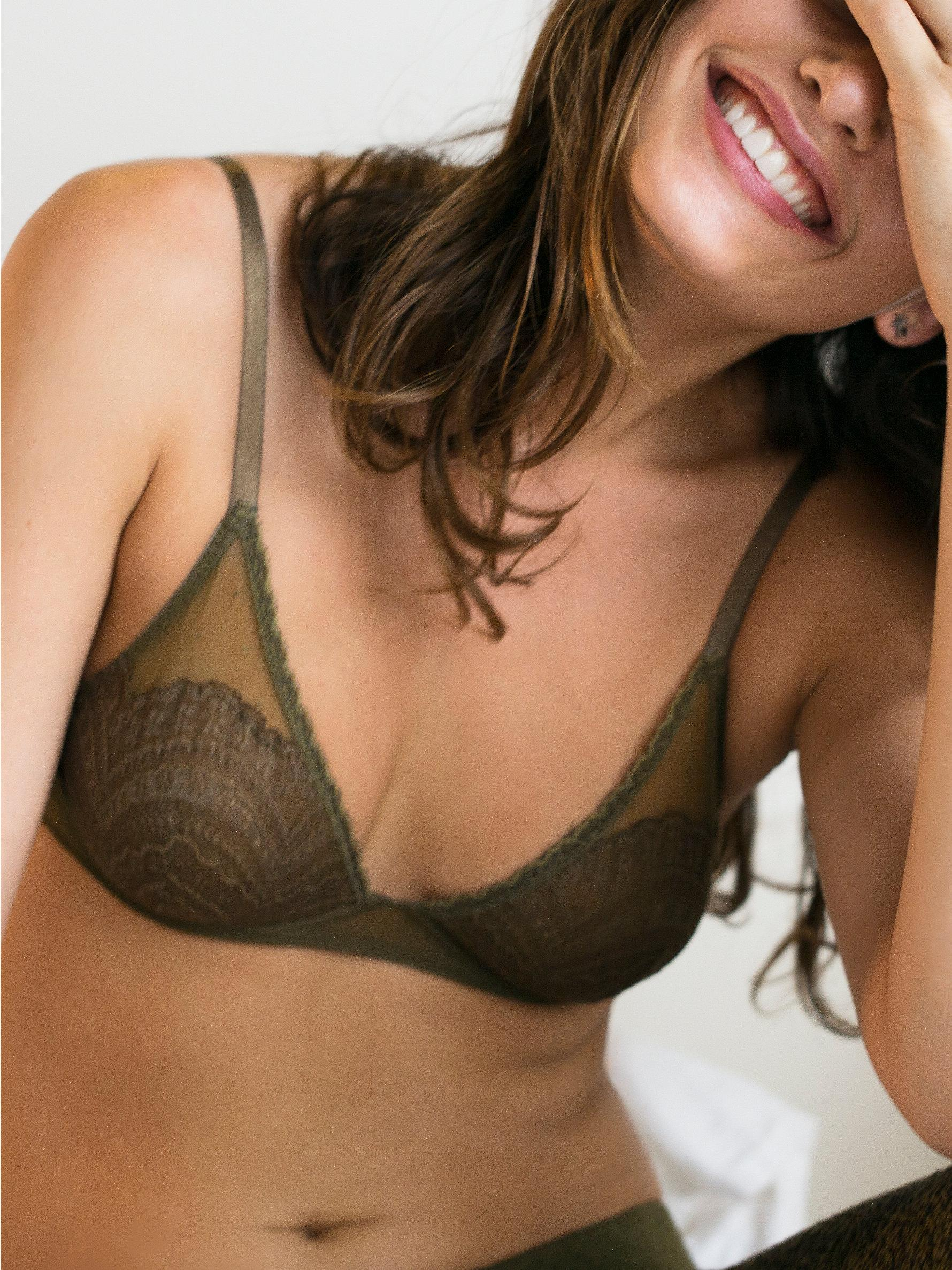 Lyst - Free People Lace Triangle Bra in Brown b2dcf78d6