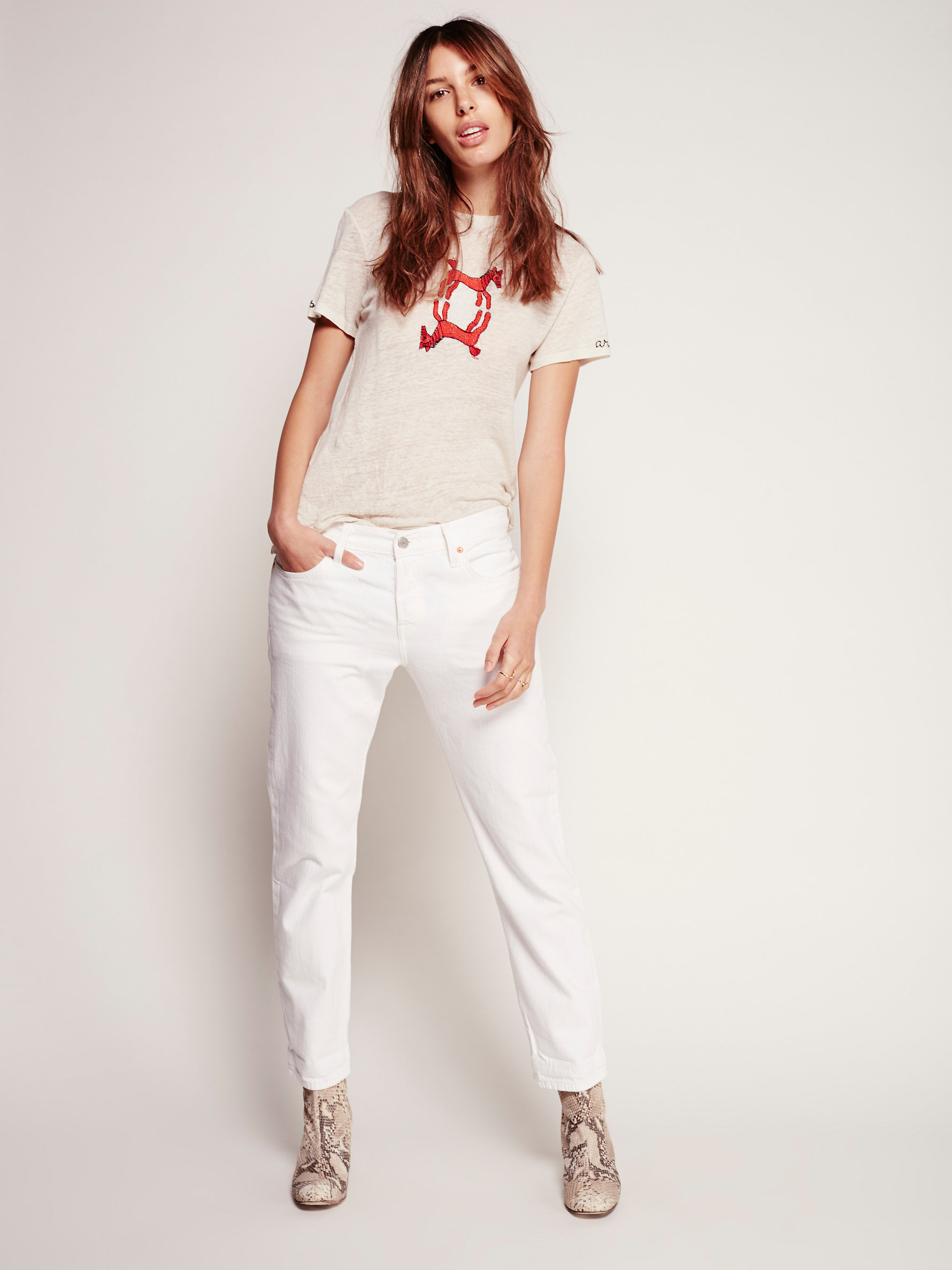 eae4c7cb Free People Levi's 501 Ct Jean in White - Lyst