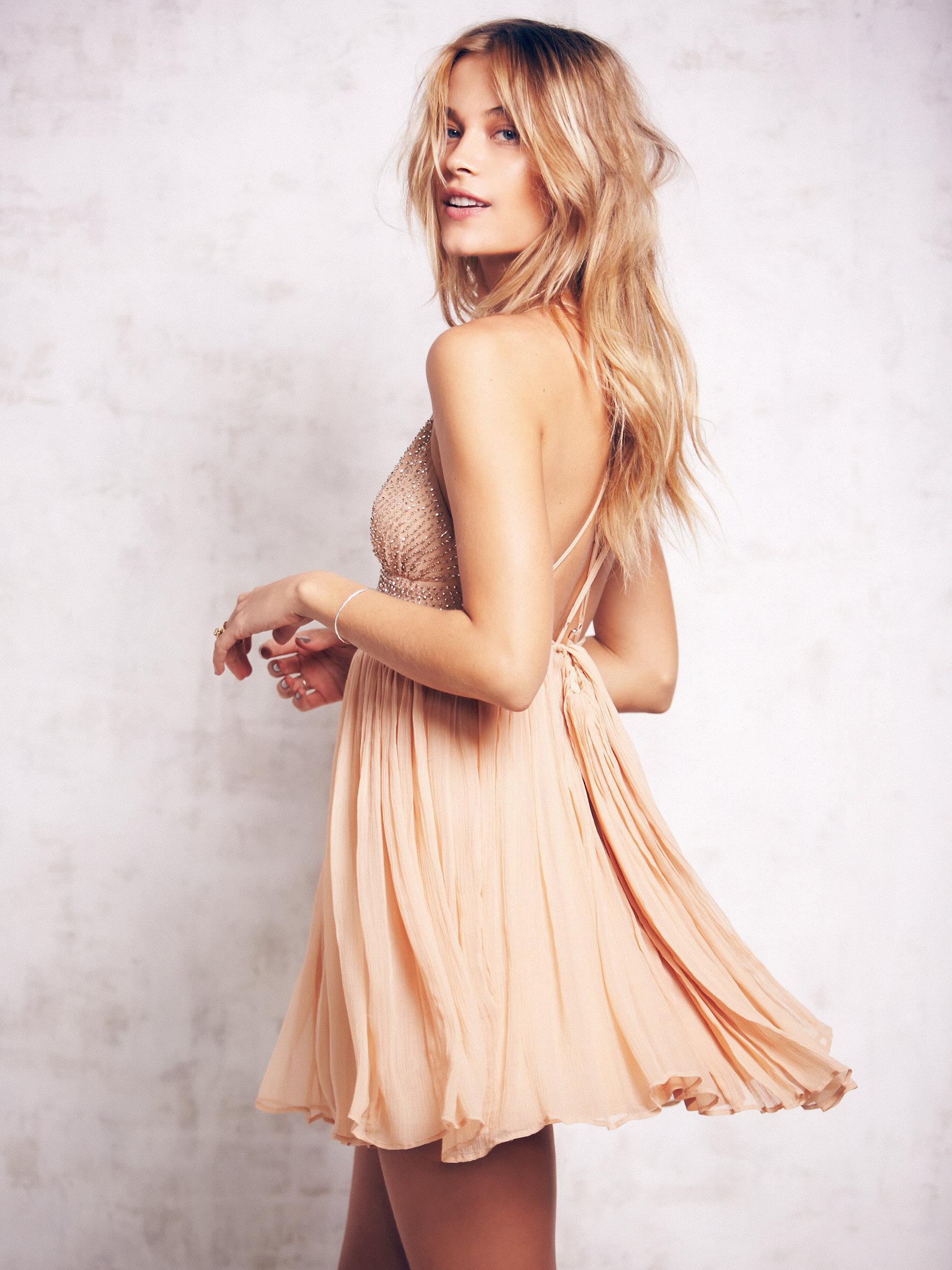 89df0ad03df5c Free People Like A Diamond Chiffon Dress in Natural - Lyst