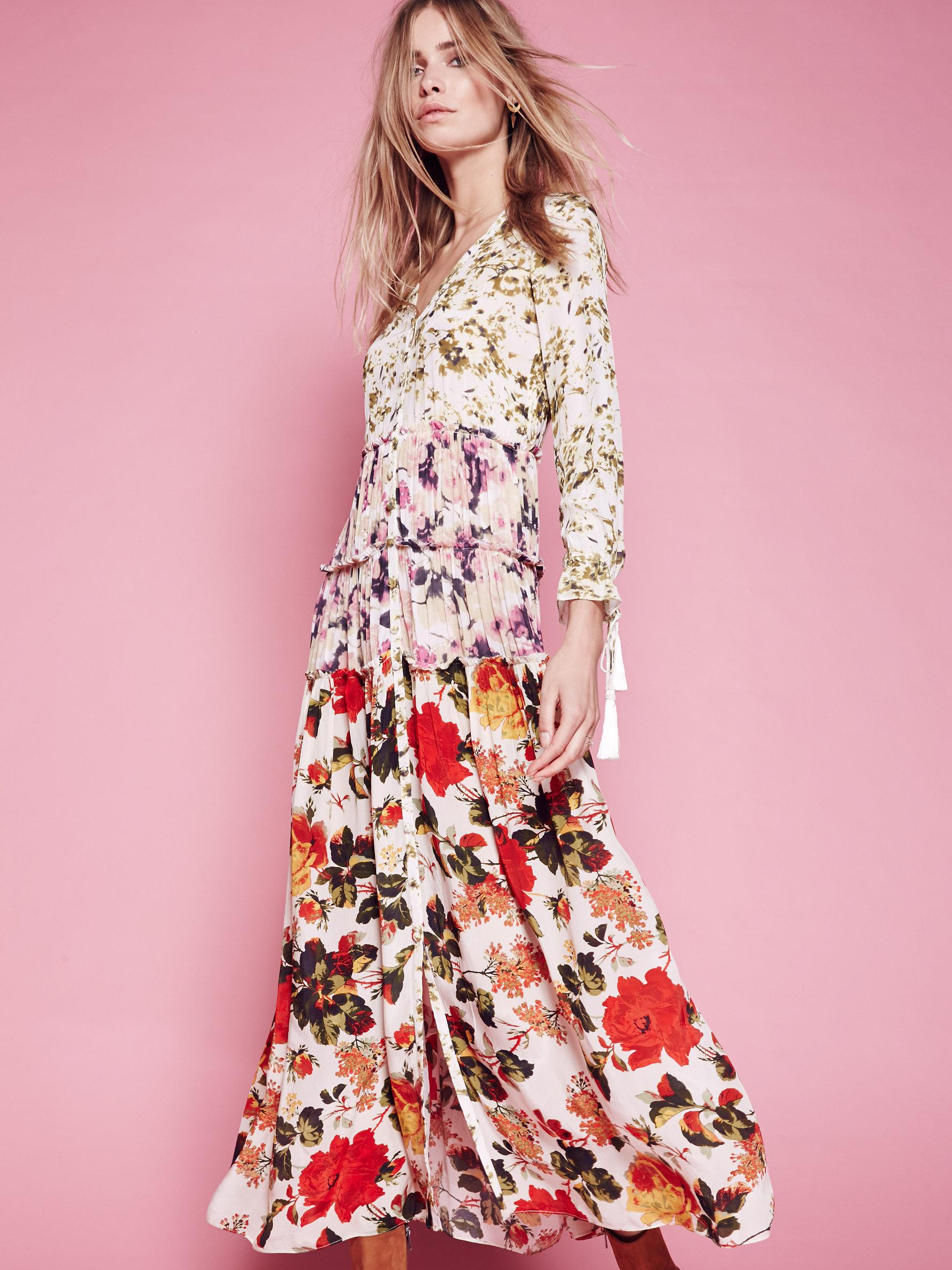 Free people Mixed Floral Maxi Dress in Pink | Lyst