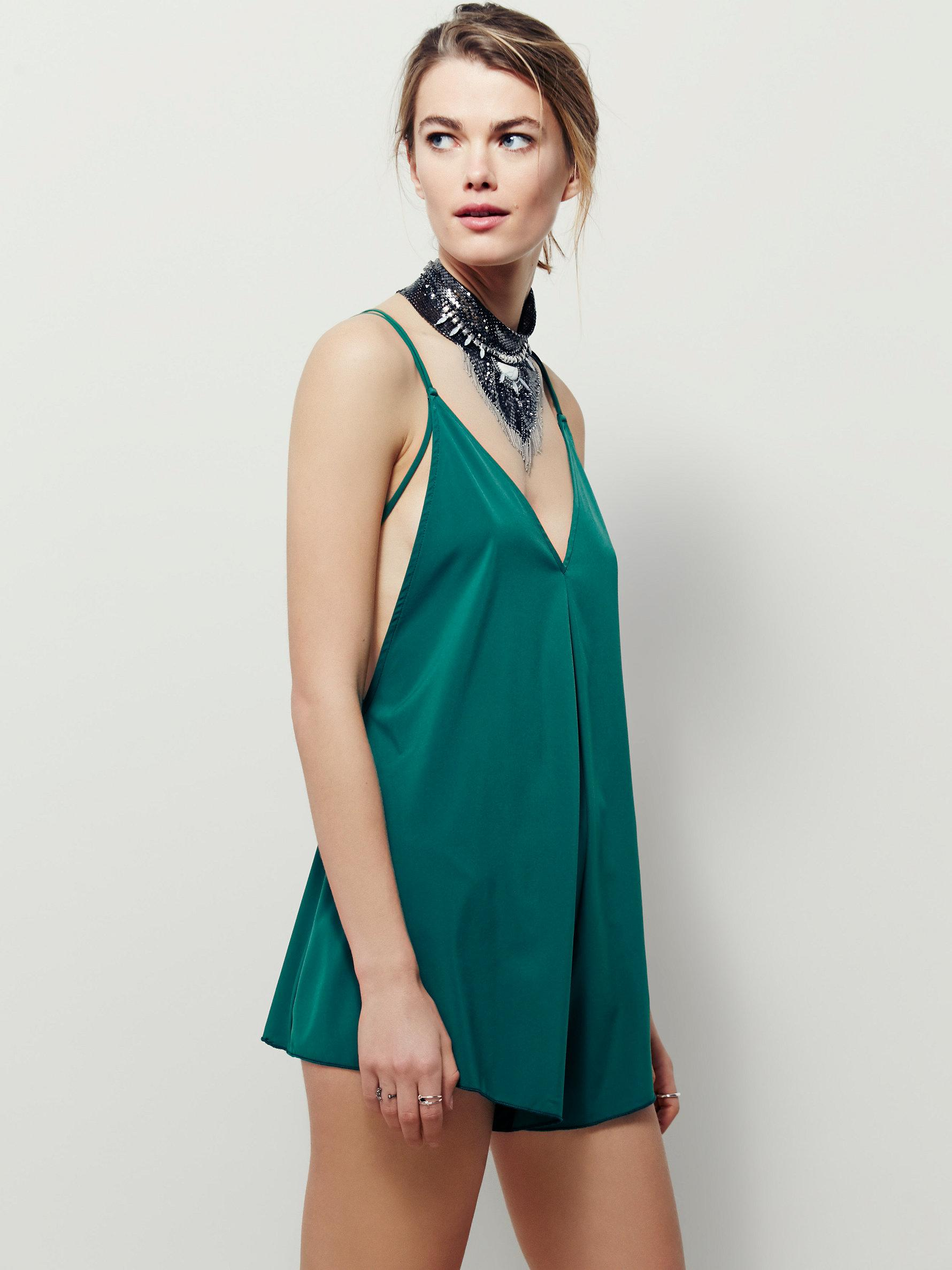 6f066568546b Lyst - Free People Serious Babe Romper in Green