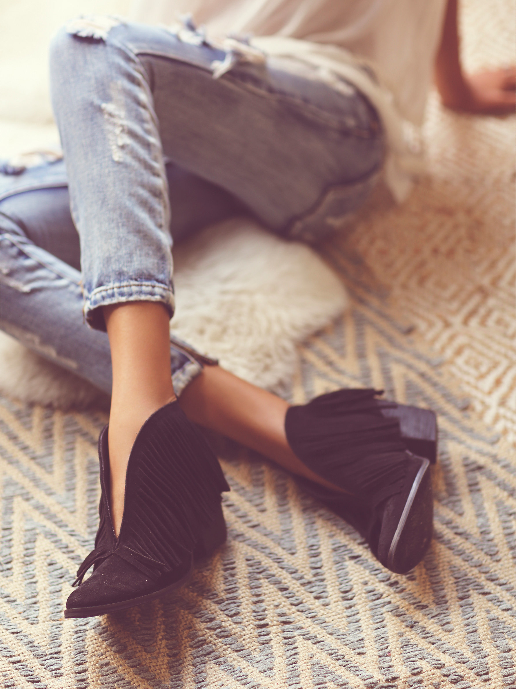 Free people Tulsi Fringe Boot in Black | Lyst