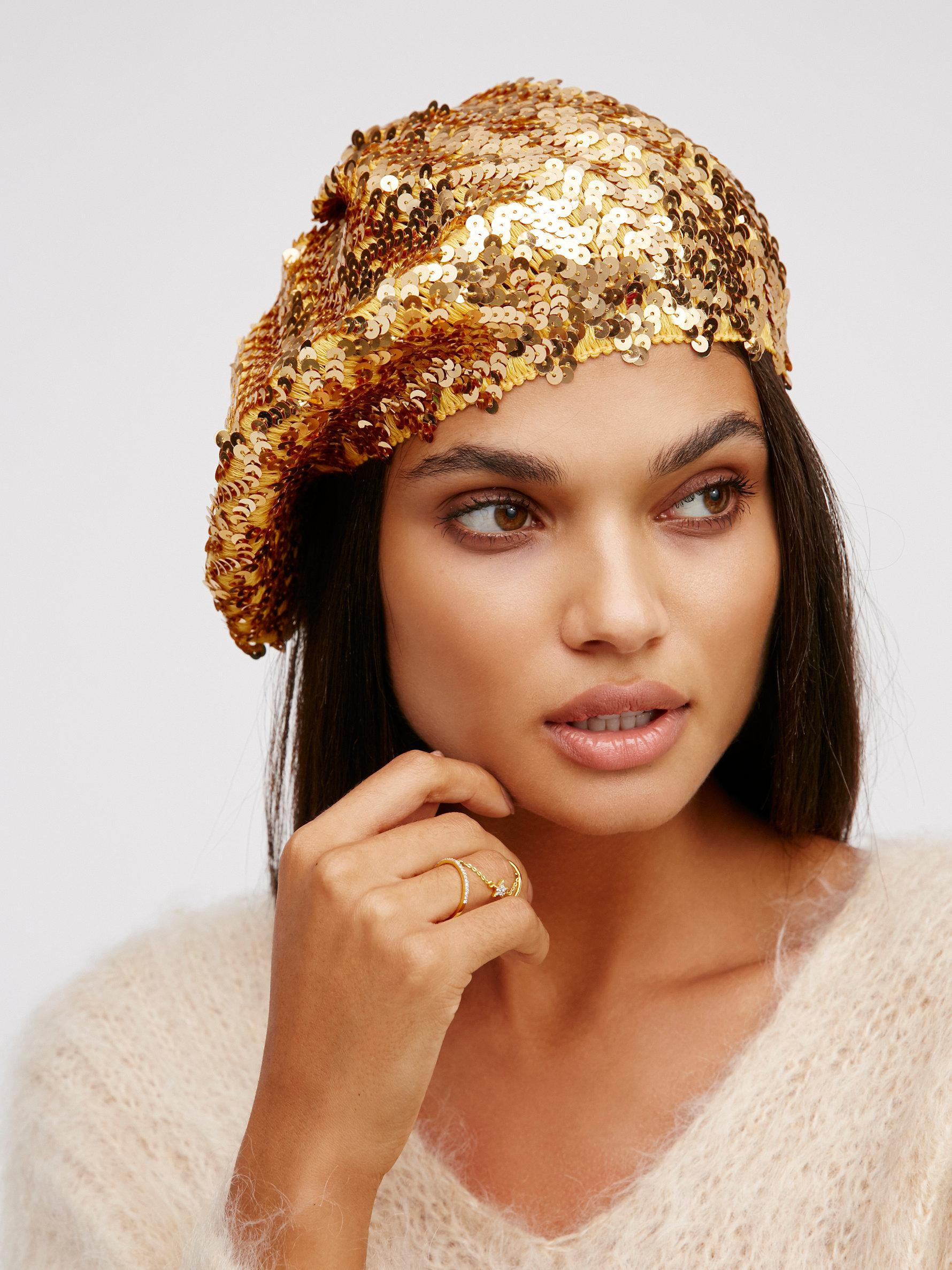 1f1ad0bf39328 Free People Up All Night Sequin Beret in Metallic - Lyst