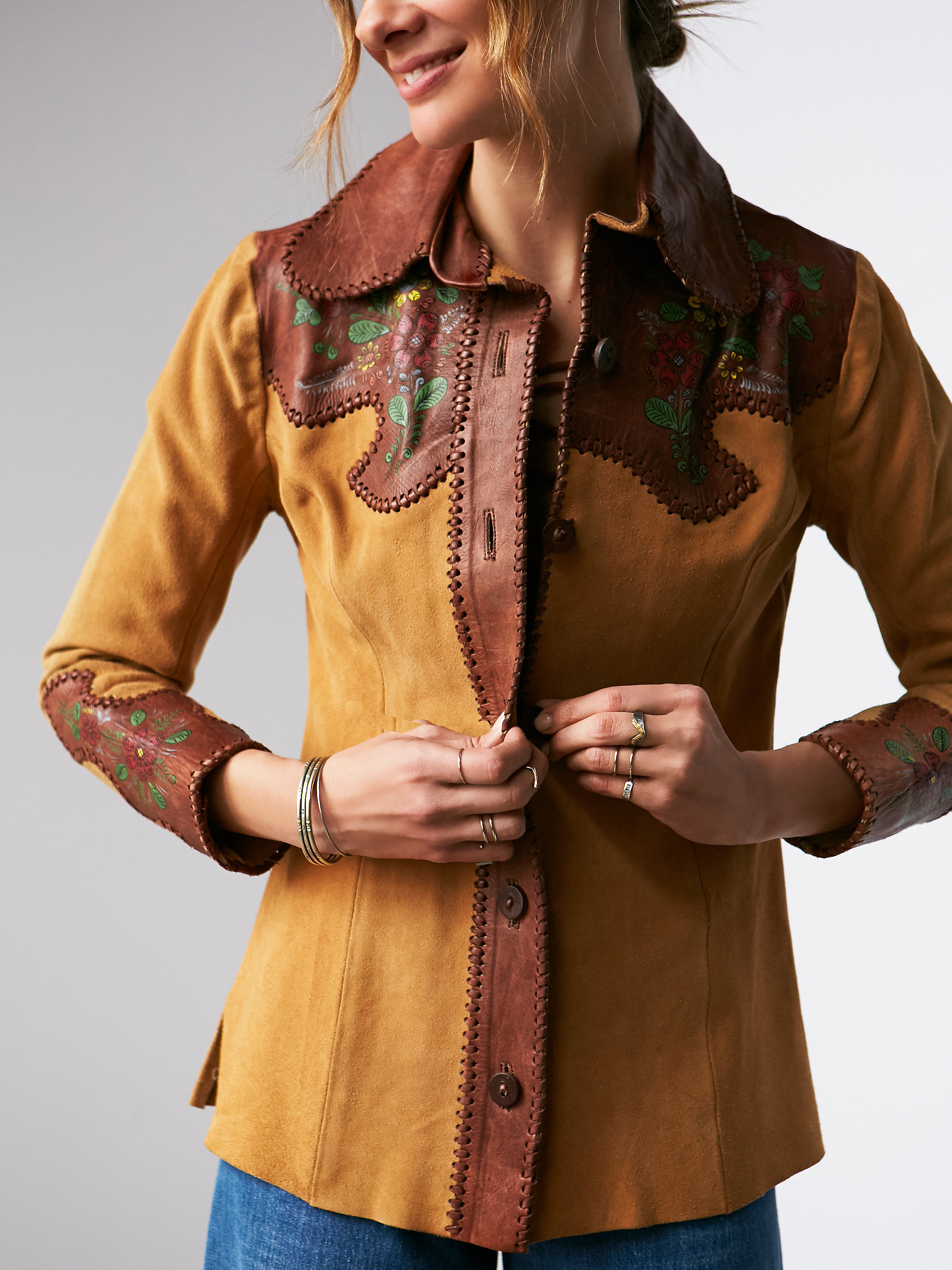 Free people Vintage Painted Suede Shirt in Brown | Lyst