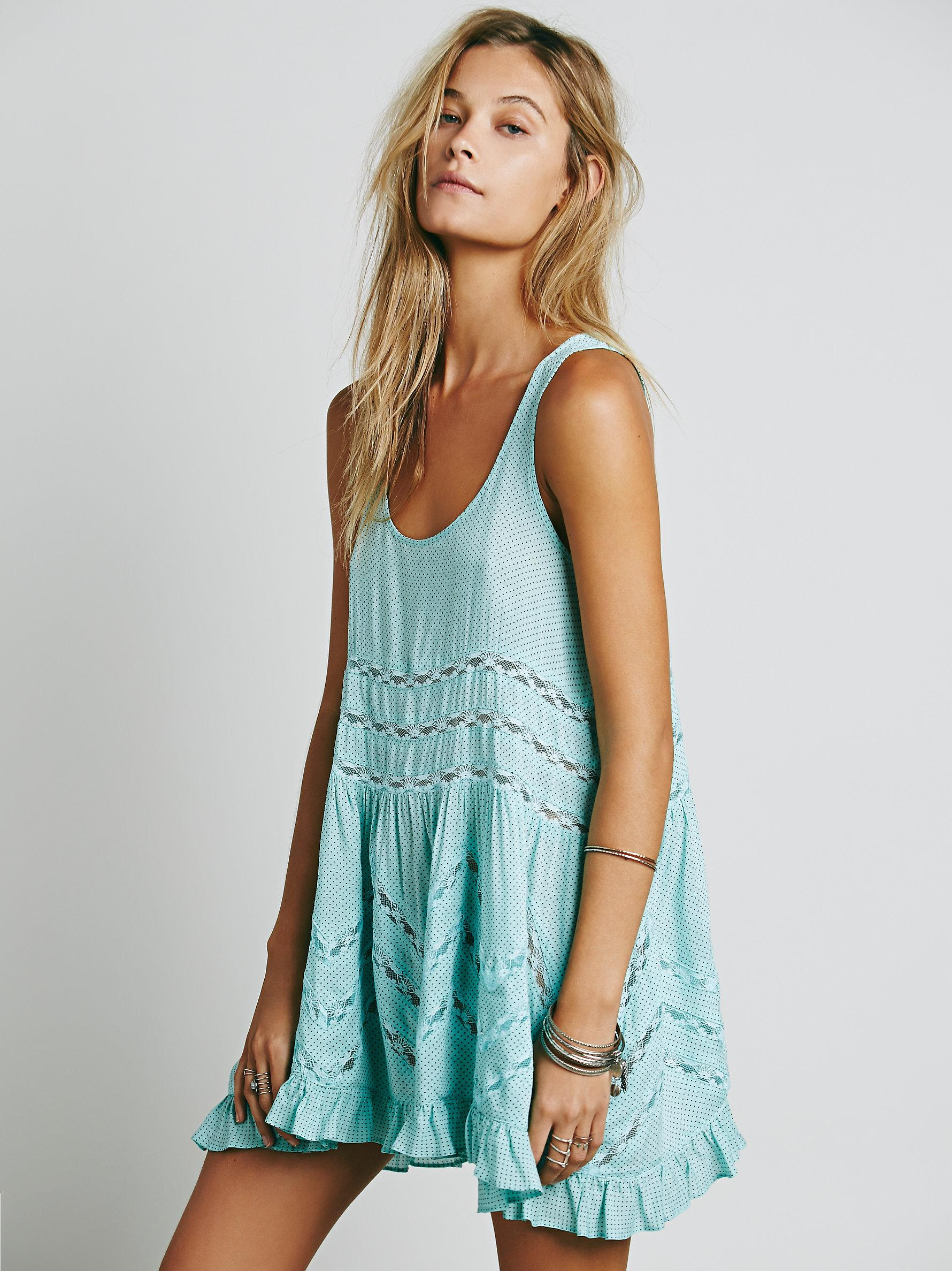 1c102cb8be55 Free People Voile And Lace Trapeze Slip in Blue - Lyst