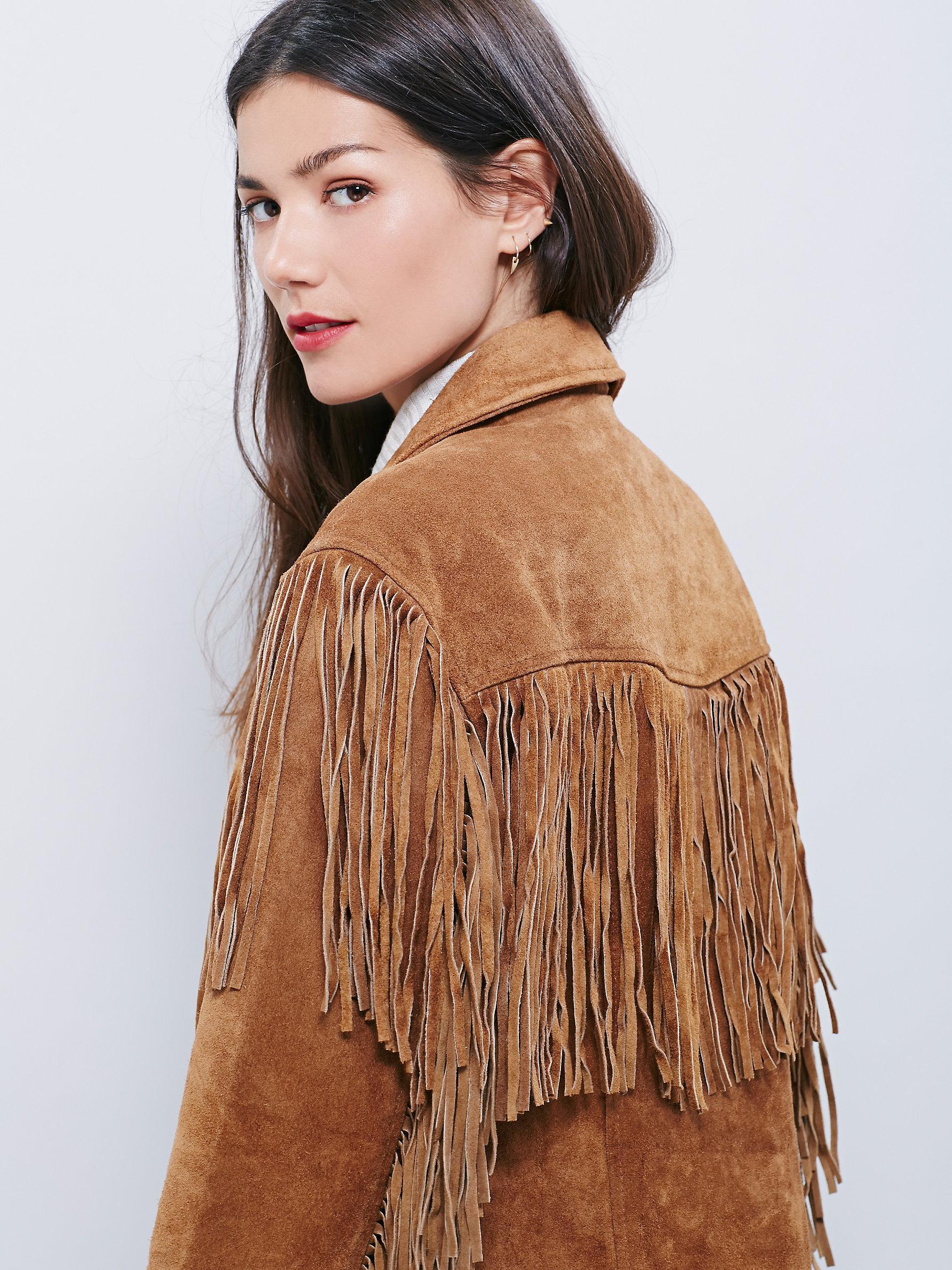 8c126cd3924 Lyst - Free People Western Tan Fringe Jacket in Brown