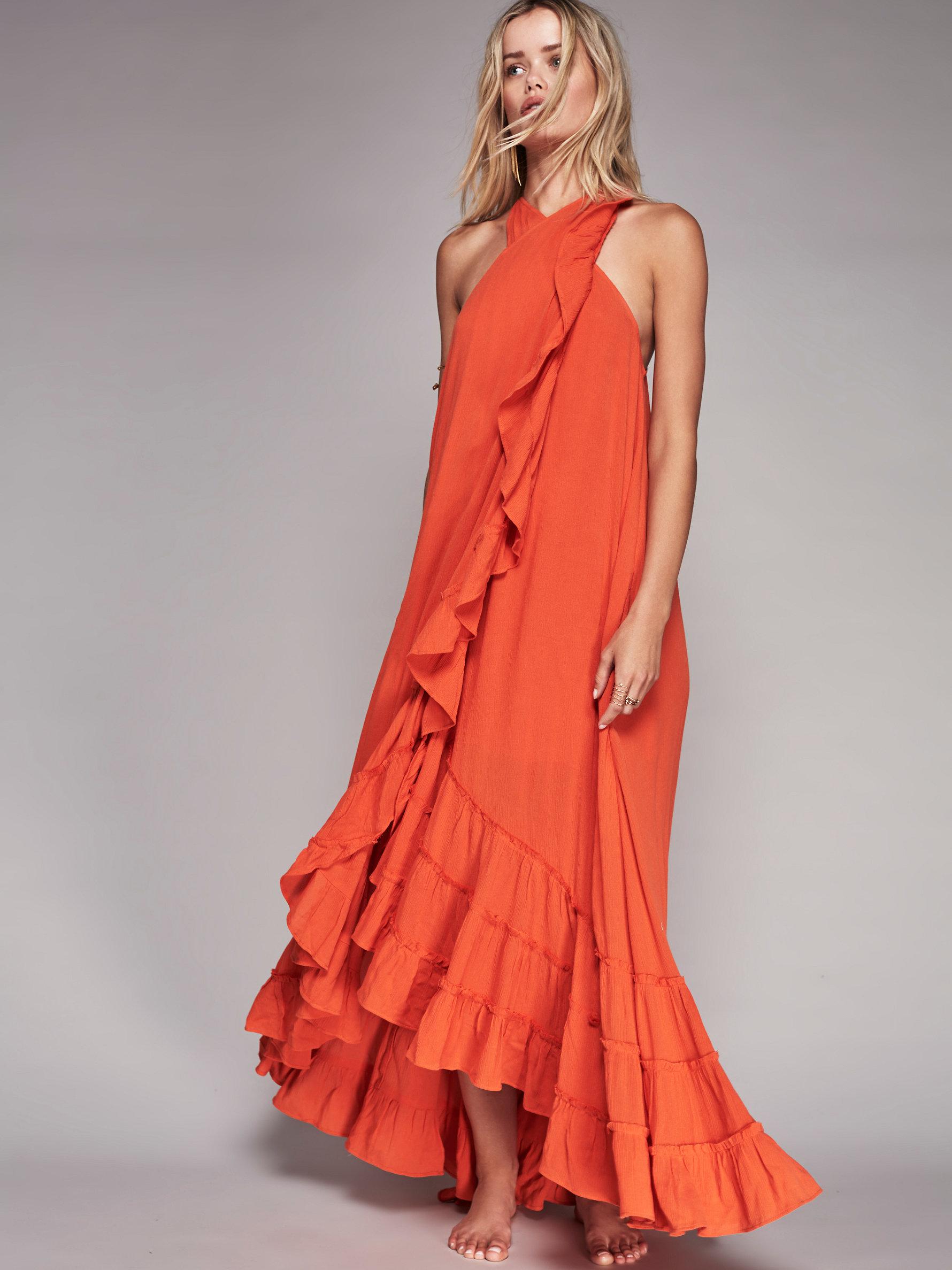 Free People Wrap Around Maxi Dress In Orange Lyst
