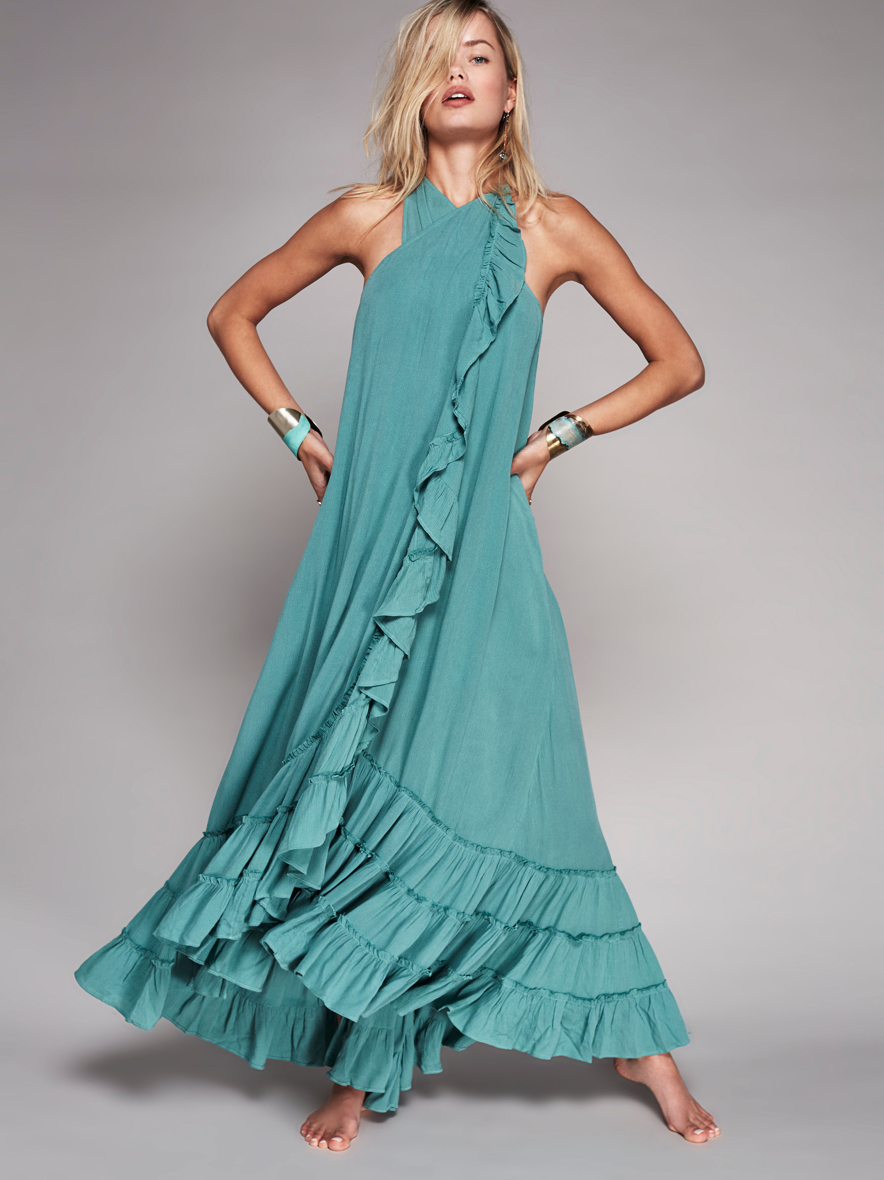 Lyst Free People Wrap Around Maxi Dress In Blue