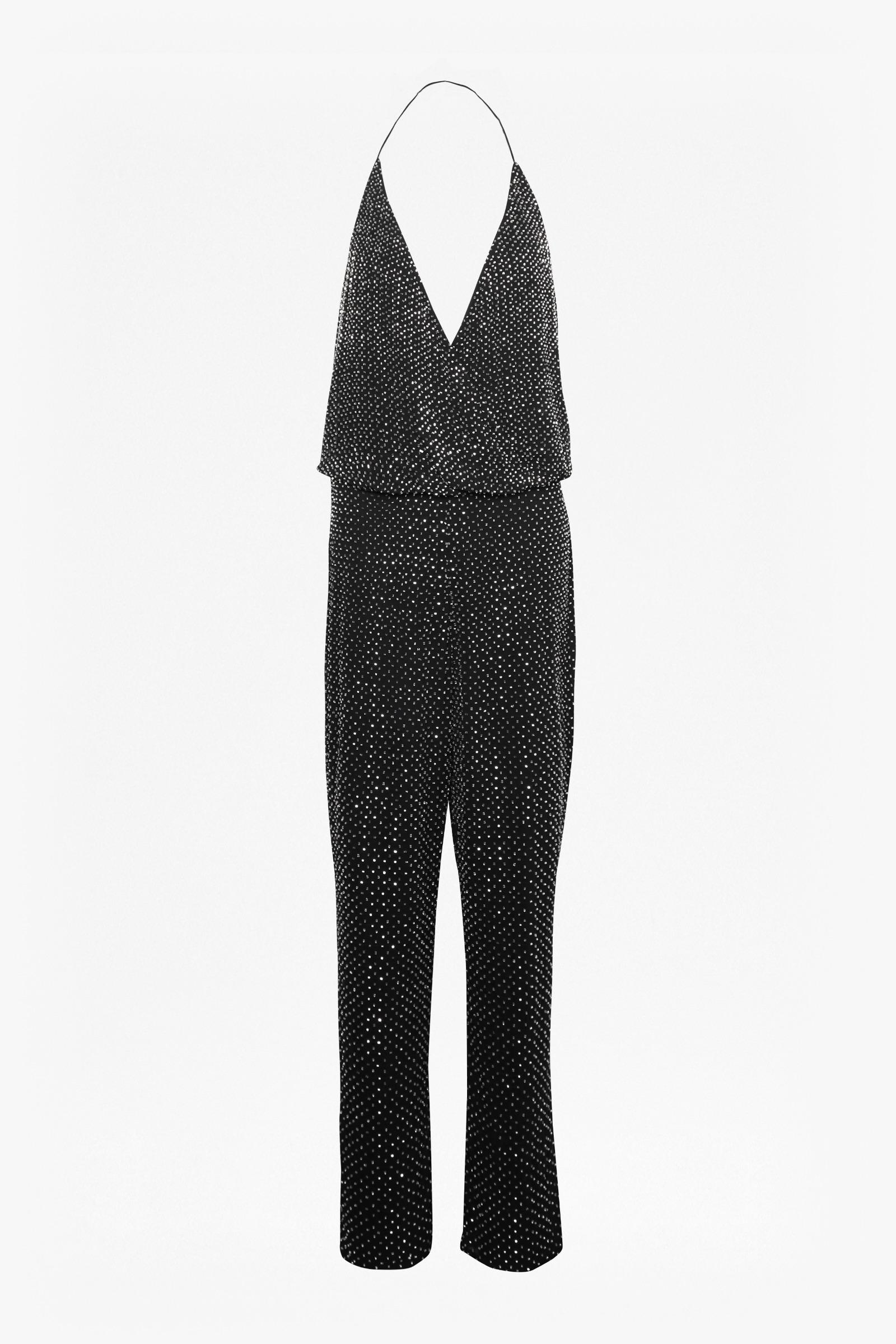 1f71ffe2a9c2 French Connection Clara Embellished Strappy Jumpsuit in Black - Lyst