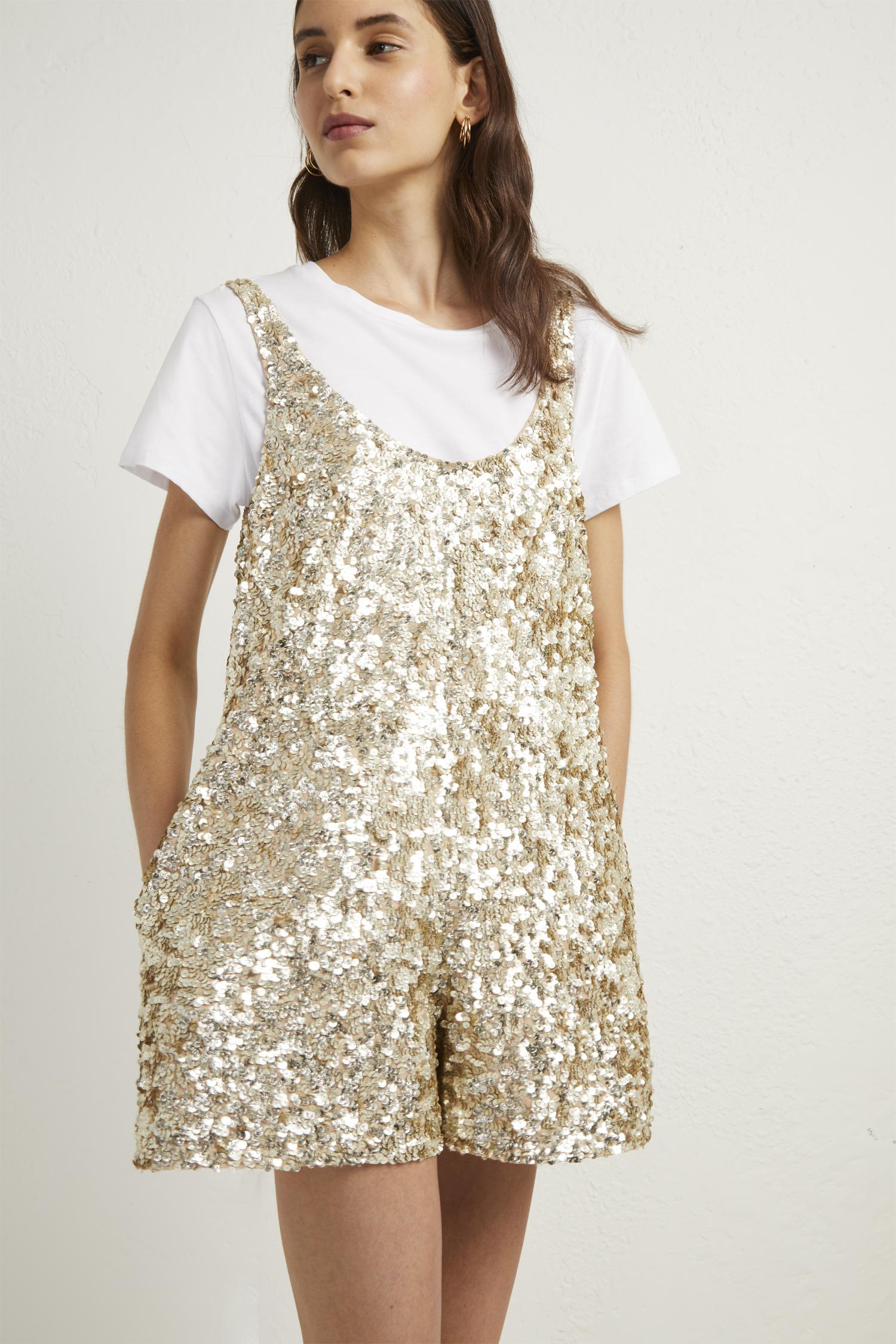 457b8de1e21 Lyst - French Connection Dia Shine Playsuit in Metallic